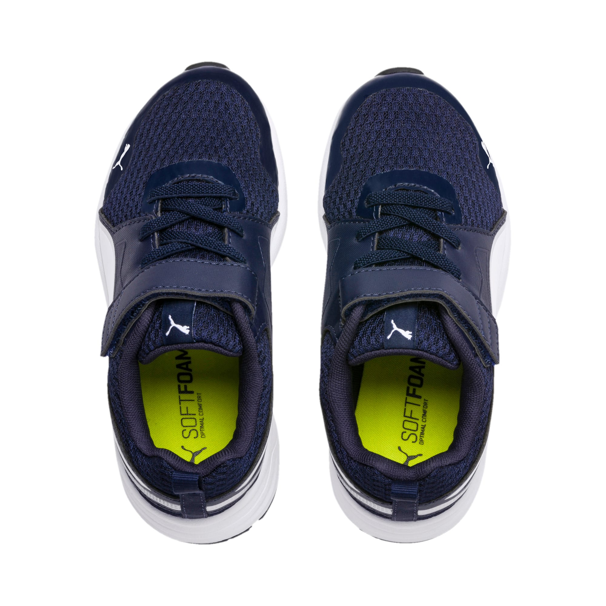 Thumbnail 4 of Pure Jogger V Kids' Trainers, Peacoat-Wht-Slvr-NYellow-Blk, medium-IND