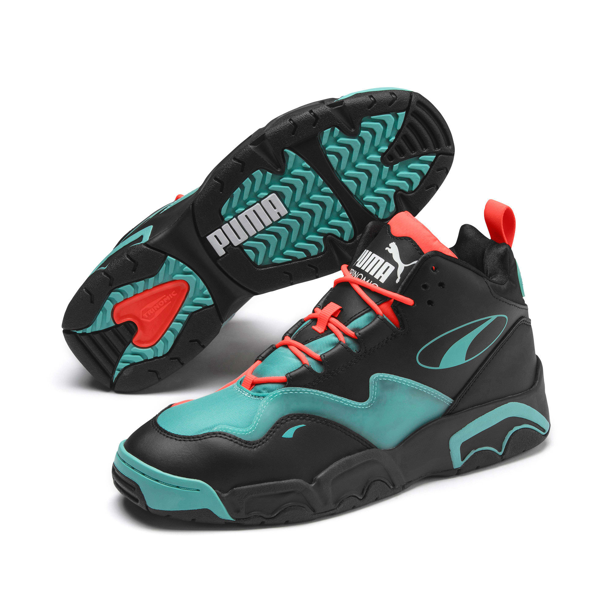 Thumbnail 4 of Source Mid Buzzer Trainers, P Blk-Nrgy Red-BlueTurquoise, medium-IND