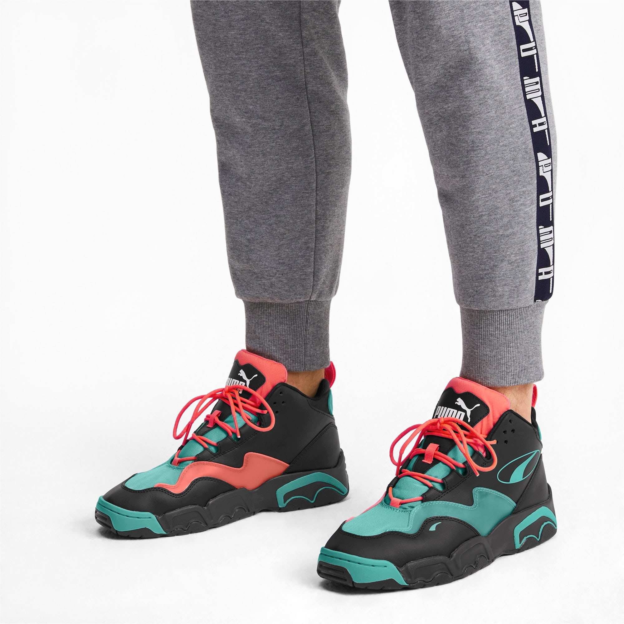 Thumbnail 2 of Source Mid Buzzer Trainers, P Blk-Nrgy Red-BlueTurquoise, medium-IND