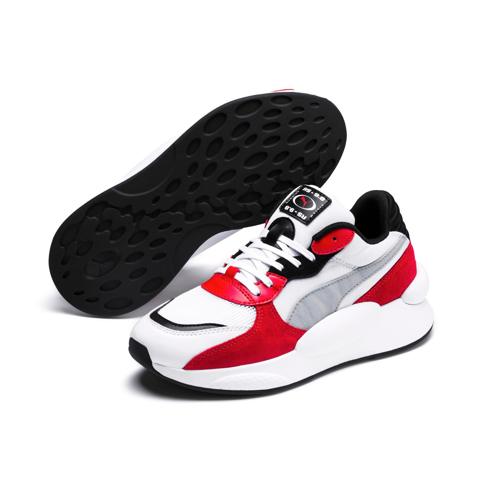 Thumbnail 2 of RS 9.8 Space Youth Trainers, Puma White-High Risk Red, medium
