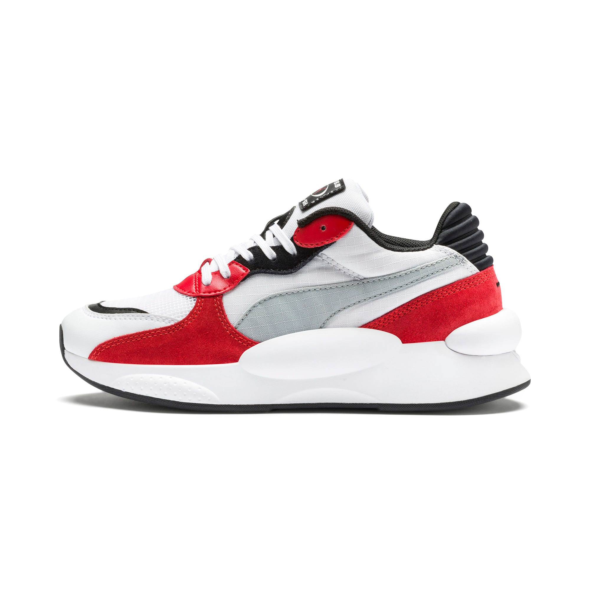 Thumbnail 1 of RS 9.8 Space Youth Trainers, Puma White-High Risk Red, medium