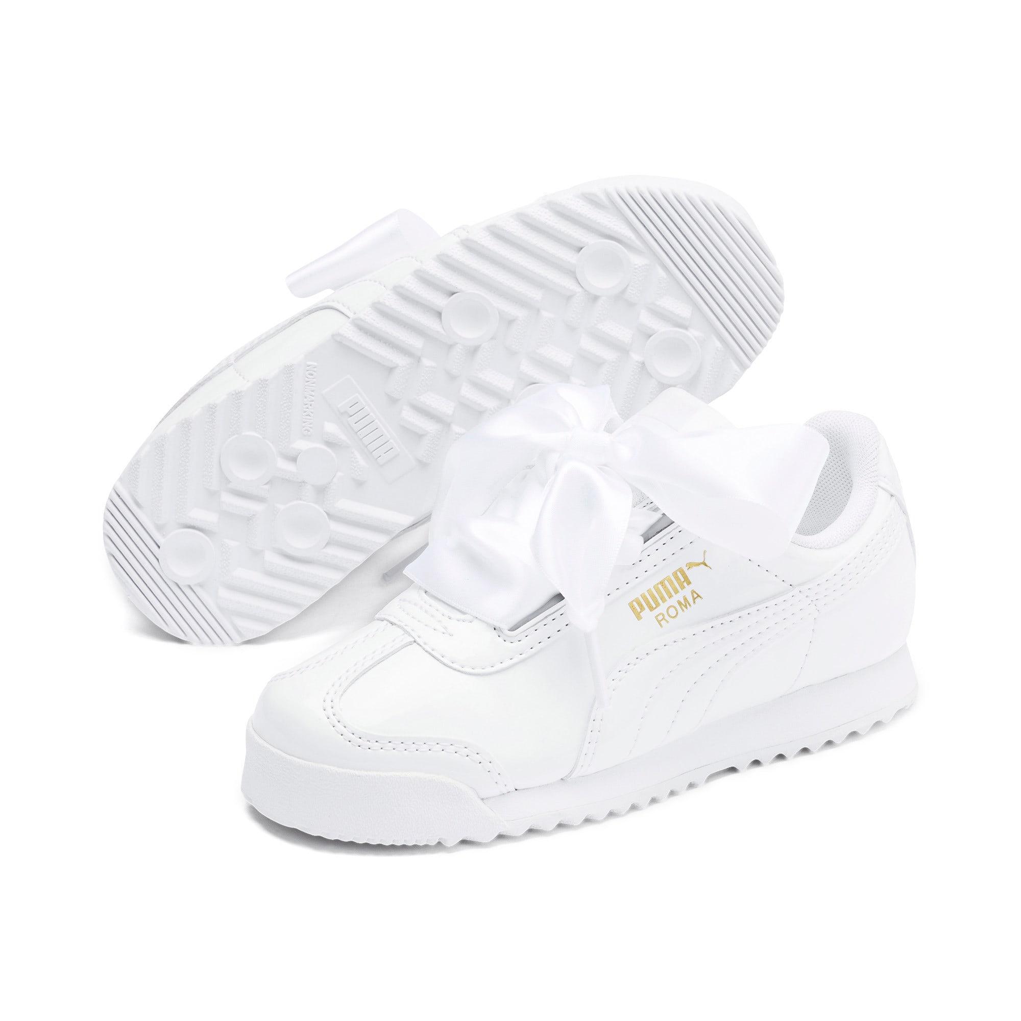 Thumbnail 2 of Roma Heart Patent Kids Sneaker, Puma White, medium