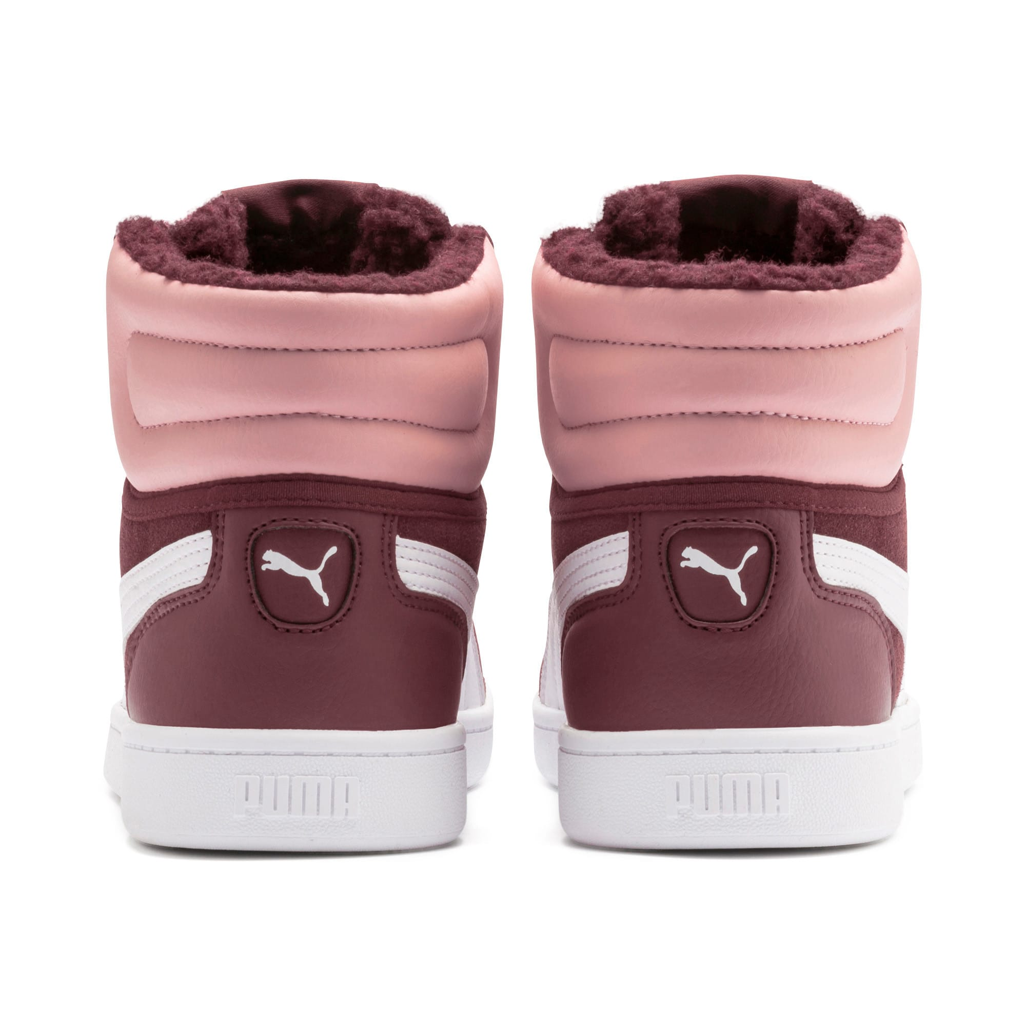 Vikky v2 Mid Fur Youth Trainers, Vineyard Wine-B Rose-White, large