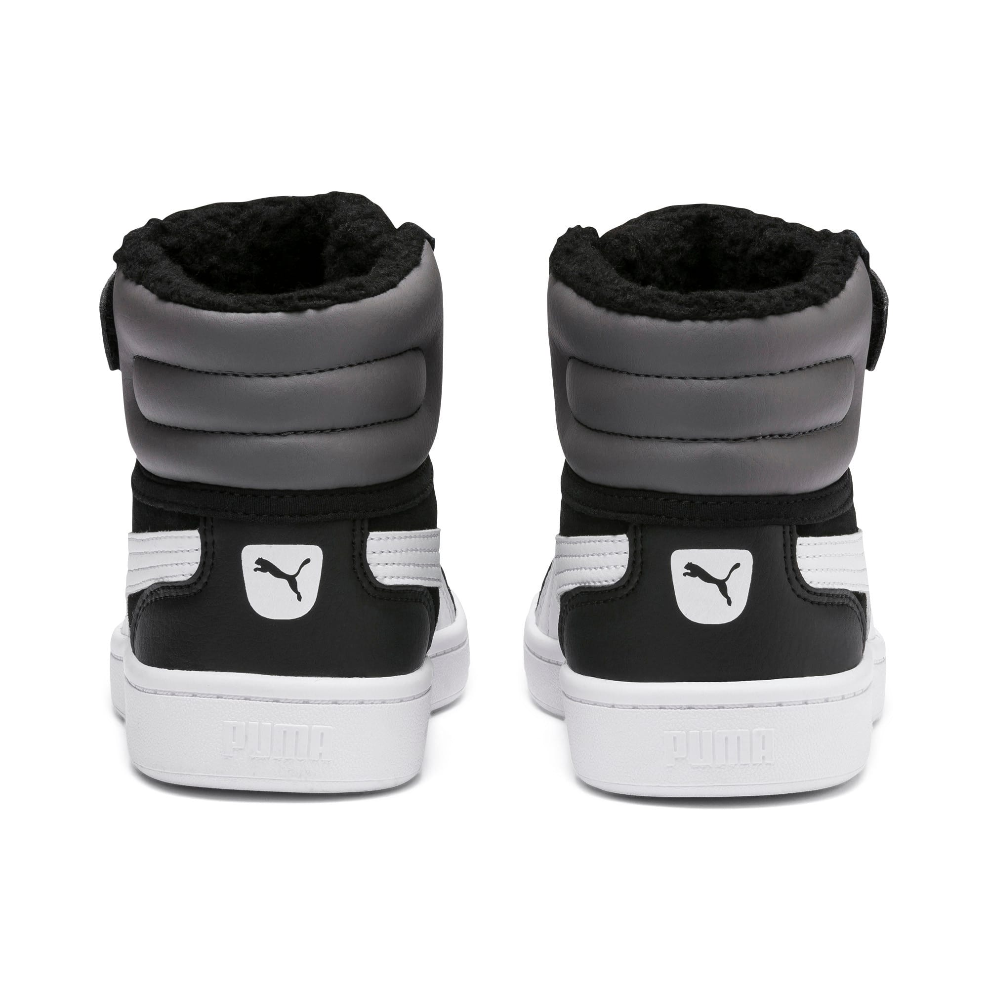 Thumbnail 3 of Vikky v2 Mid Fur V Kids' Trainers, Puma Black-CASTLEROCK-White, medium