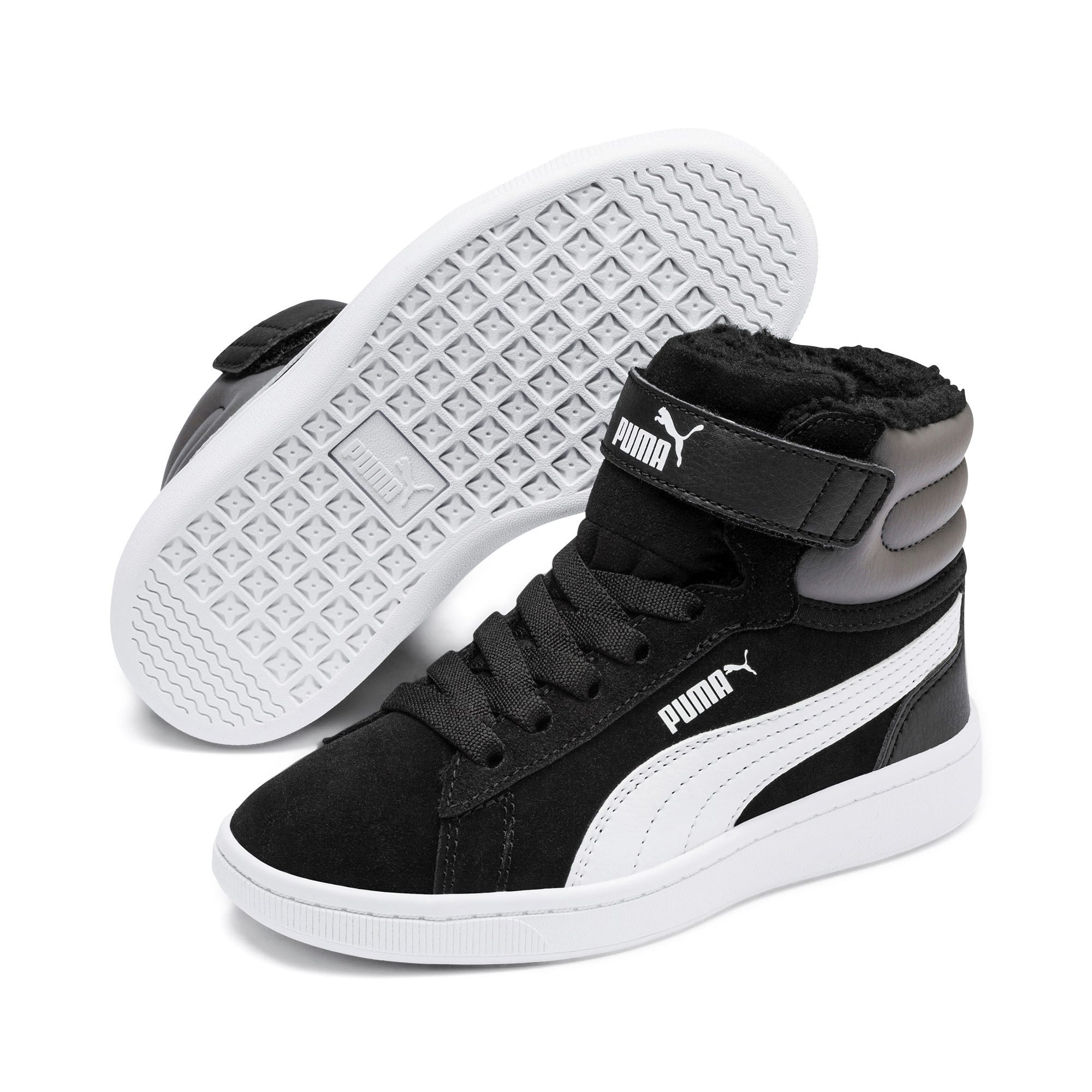 Thumbnail 2 of Vikky v2 Mid Fur V Kids' Trainers, Puma Black-CASTLEROCK-White, medium