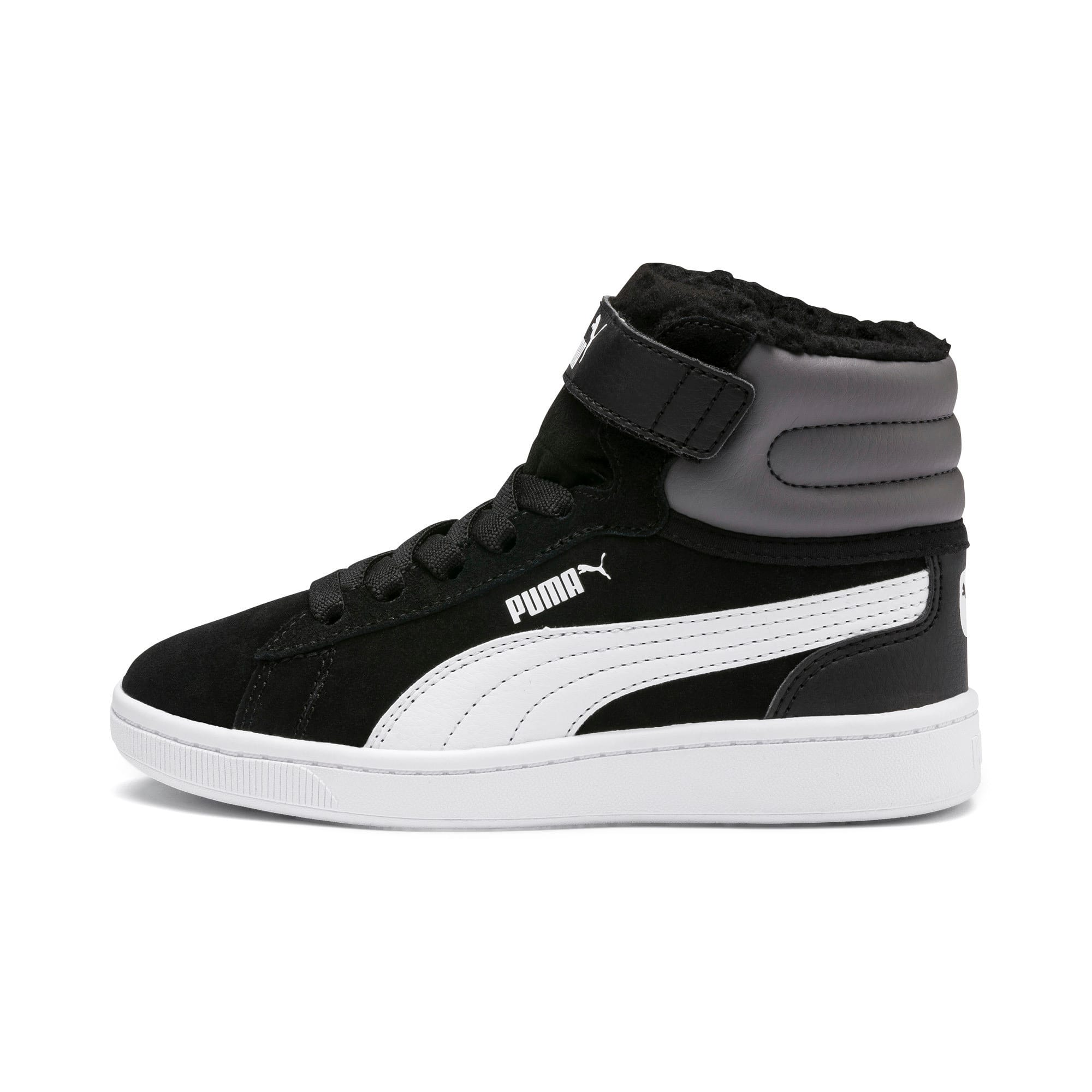 Thumbnail 1 of Vikky v2 Mid Fur V Kids' Trainers, Puma Black-CASTLEROCK-White, medium