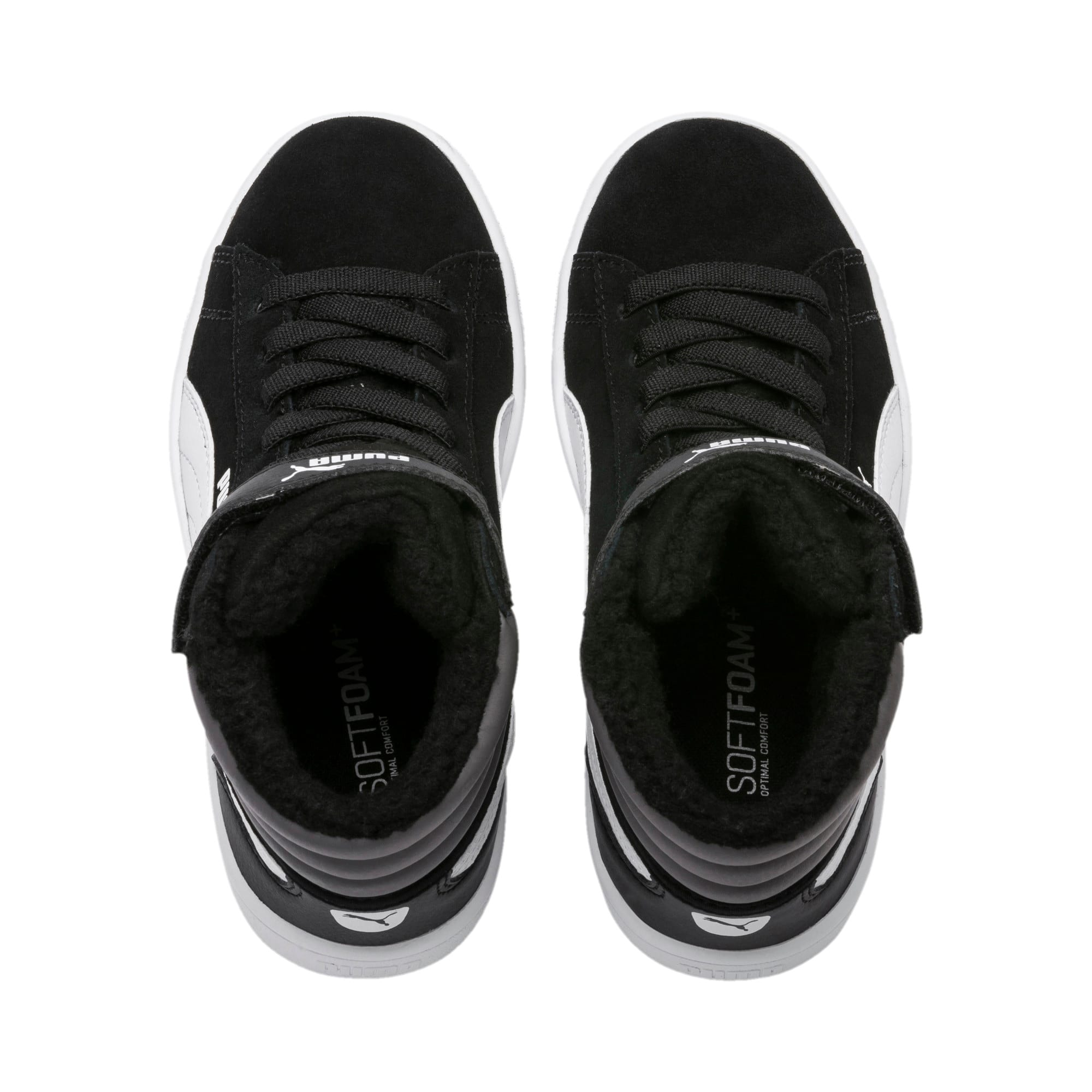 Thumbnail 6 of Vikky v2 Mid Fur V Kids' Trainers, Puma Black-CASTLEROCK-White, medium