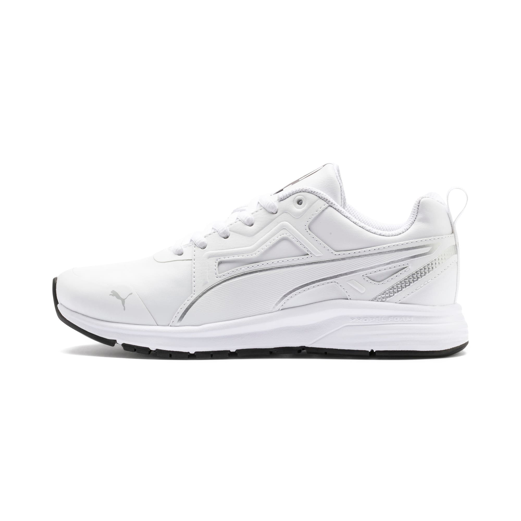 Thumbnail 1 of Pure Jogger Youth Trainers, White-Silver-Black-G Violet, medium-IND