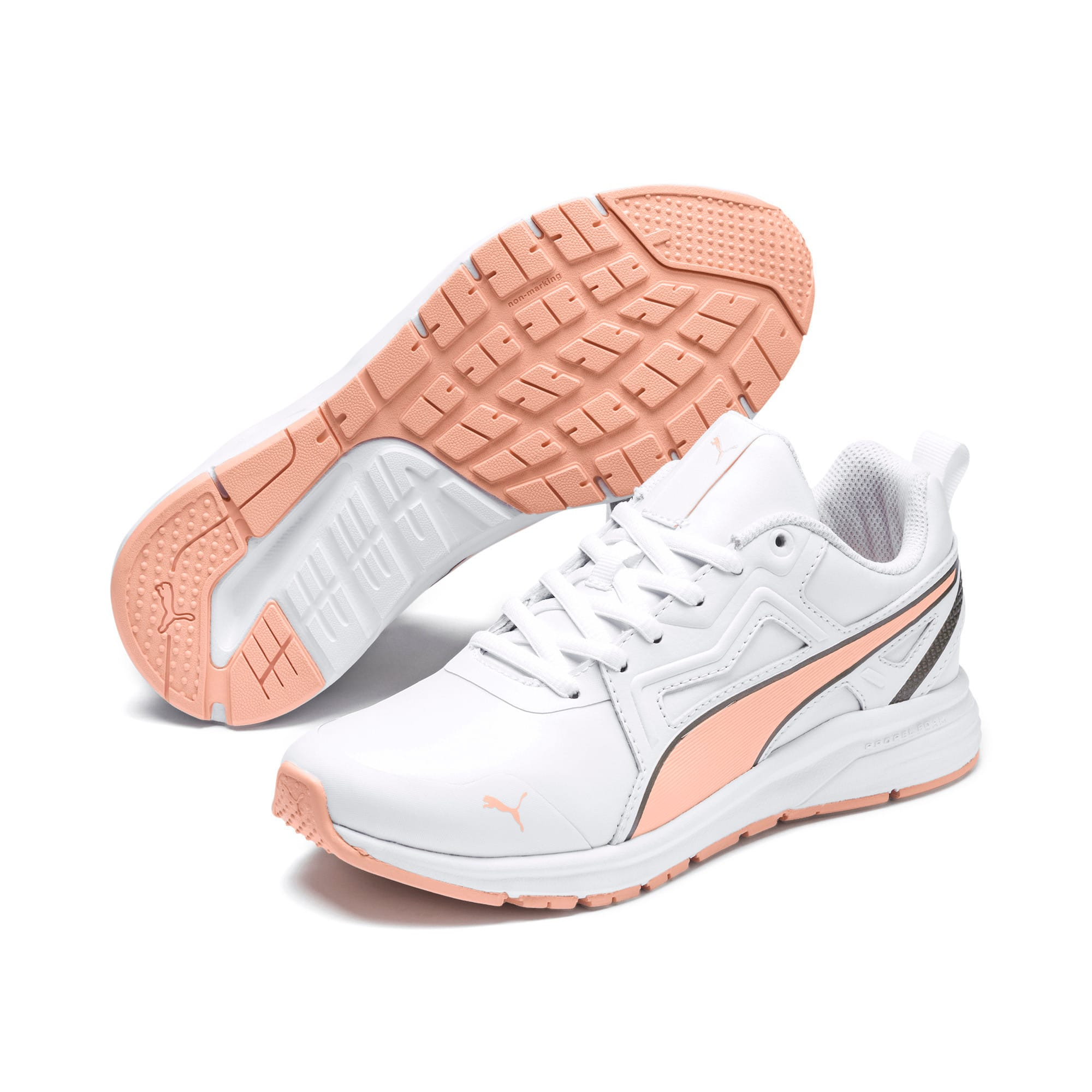 Thumbnail 6 of Pure Jogger Youth Trainers, White-Peach Parfait-A Silver, medium-IND