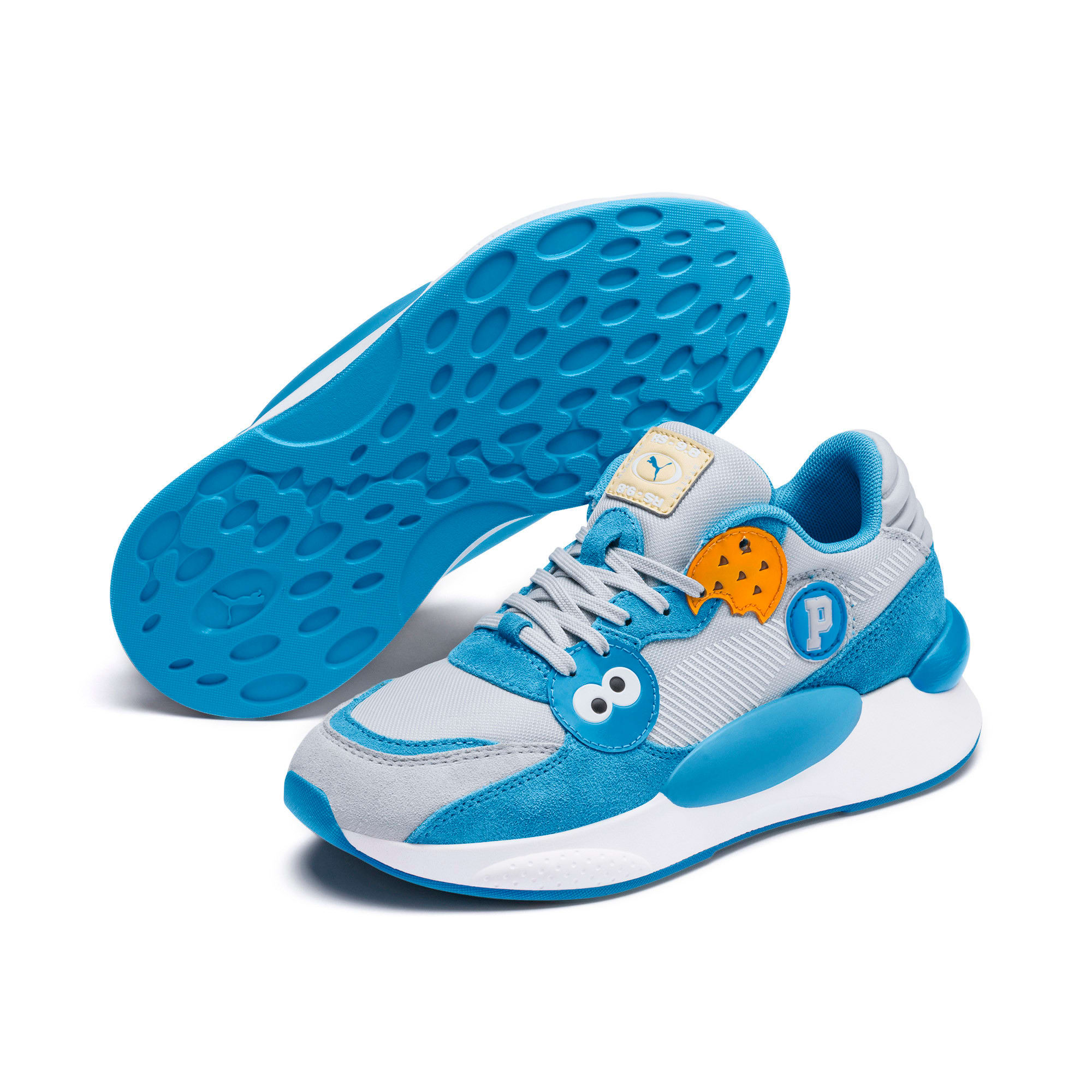 Thumbnail 2 of Sesame Street 50 RS 9.8 Youth Trainers, Grey Dawn-Bleu Azur, medium
