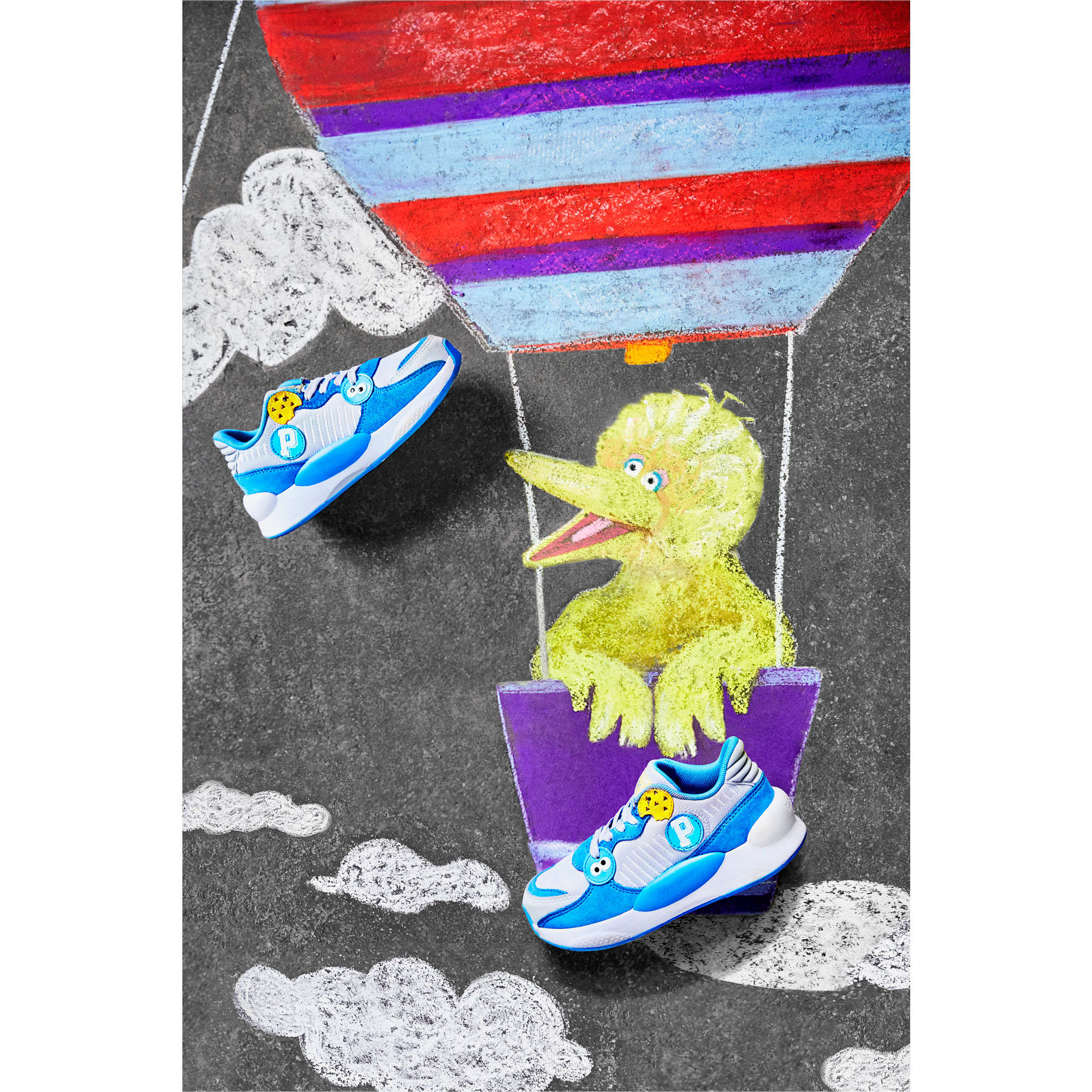 Thumbnail 7 of Sesame Street 50 RS 9.8 Kids' Trainers, Grey Dawn-Bleu Azur, medium