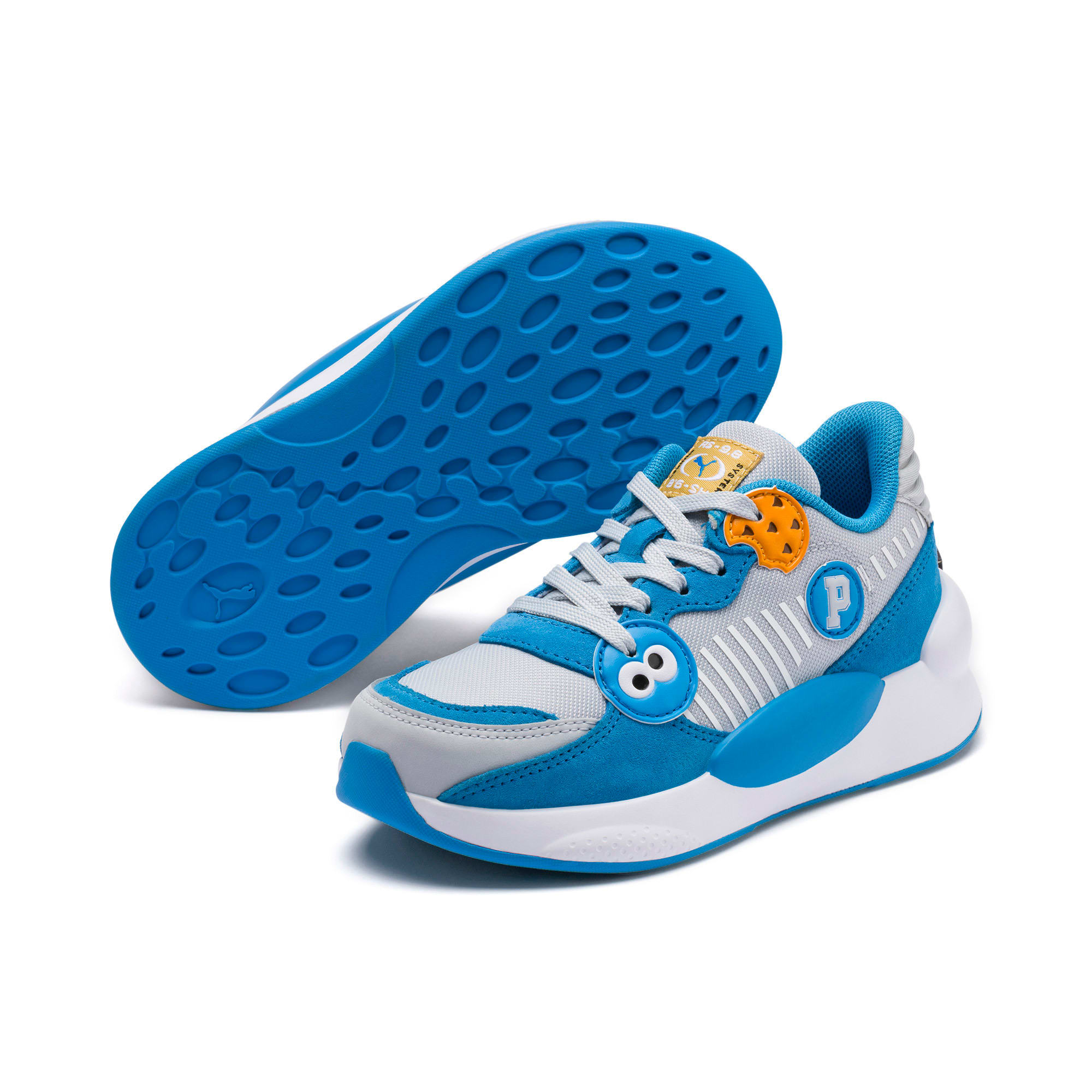 Thumbnail 2 of Sesame Street 50 RS 9.8 Kids' Trainers, Grey Dawn-Bleu Azur, medium-IND