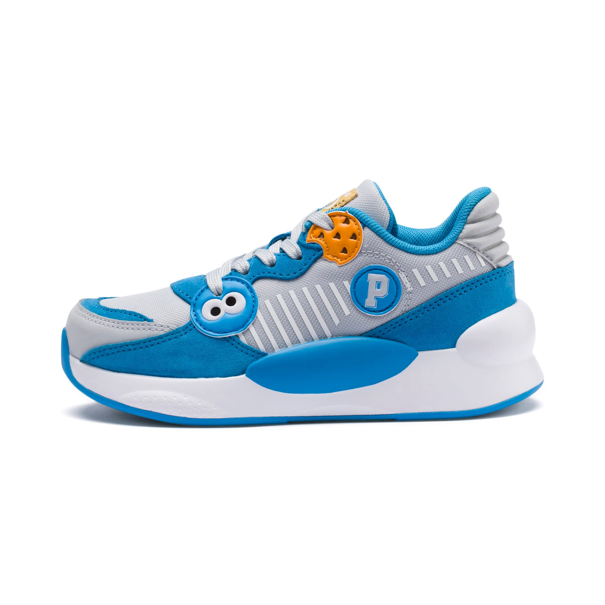 Thumbnail 1 of Sesame Street 50 RS 9.8 Kids' Trainers, Grey Dawn-Bleu Azur, medium-IND