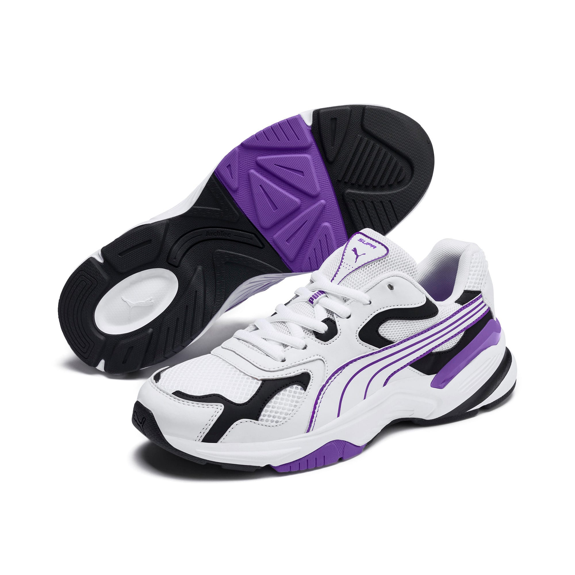 Thumbnail 4 of Axis SUPR Trainers, White-Black-Purple Glimmer, medium-IND