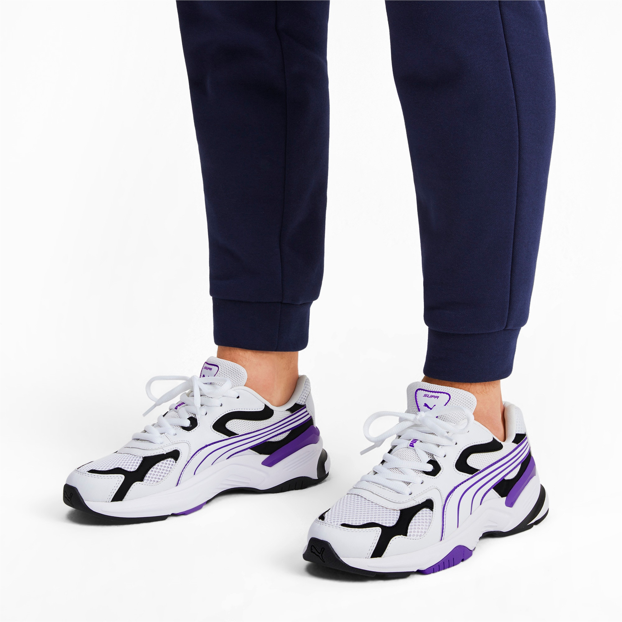 Thumbnail 2 of Axis SUPR Trainers, White-Black-Purple Glimmer, medium-IND