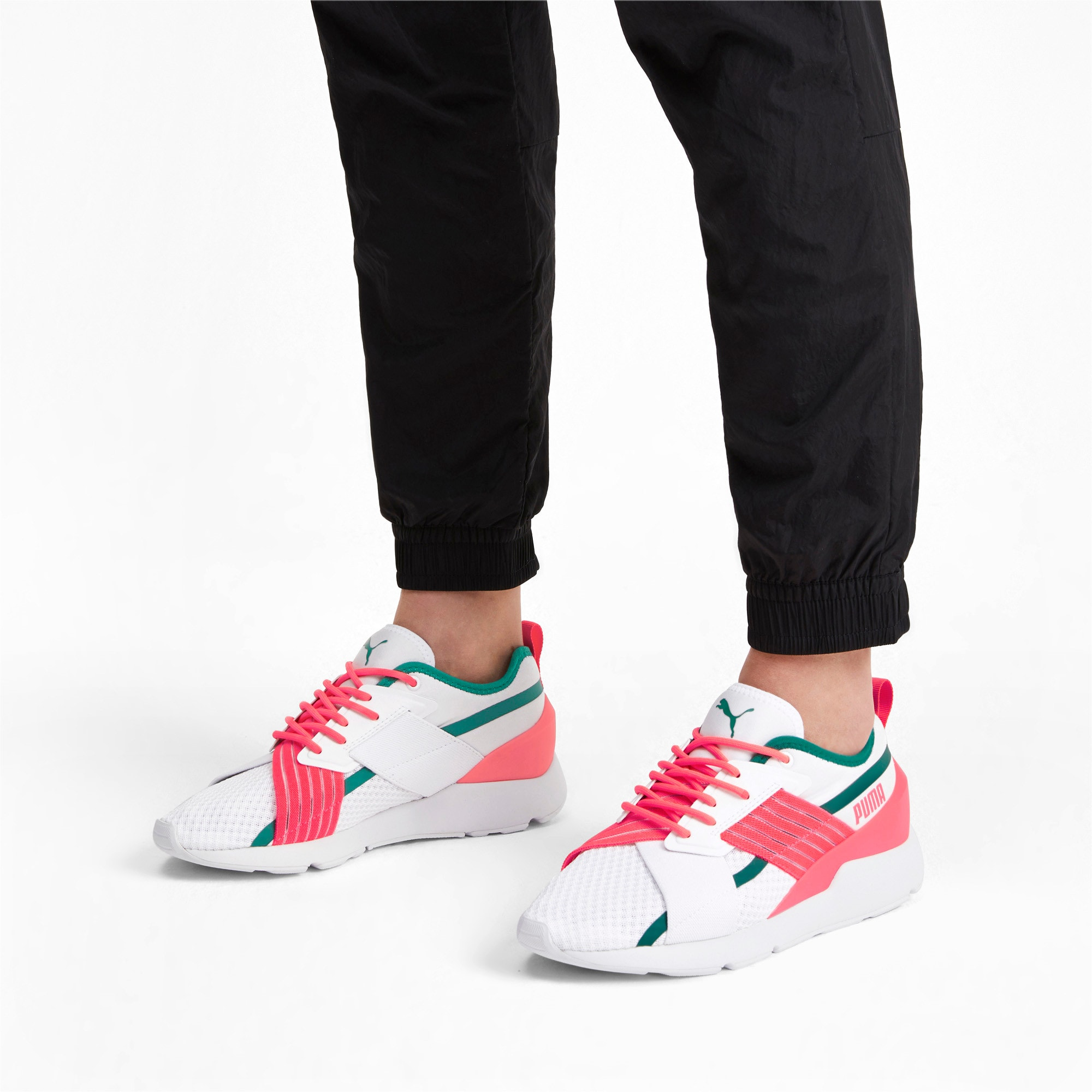 Thumbnail 2 of Muse X-2 Women's Trainers, Puma White-Pink Alert, medium-IND
