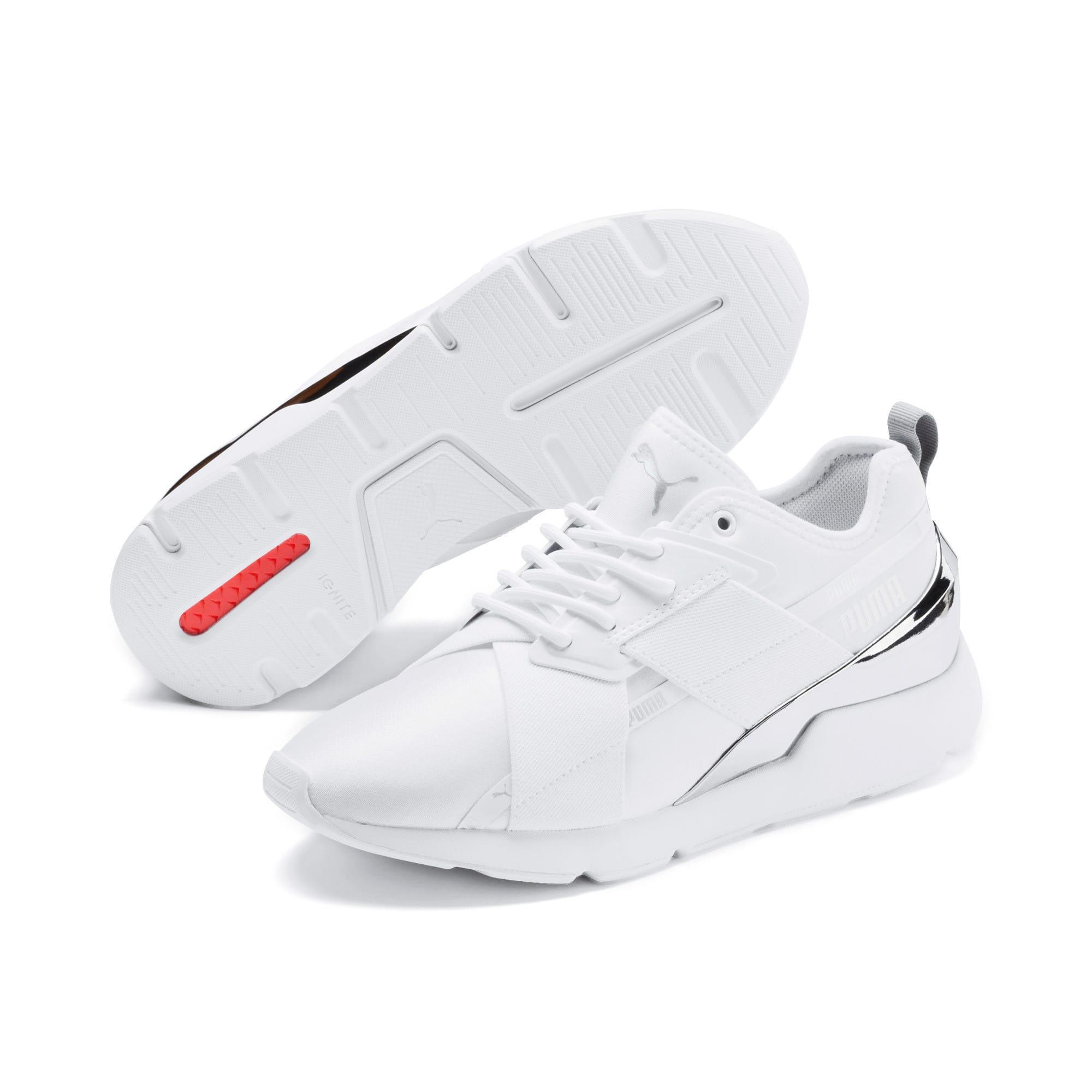 Thumbnail 3 of Muse X-2 Metallic Women's Sneakers, Puma White, medium