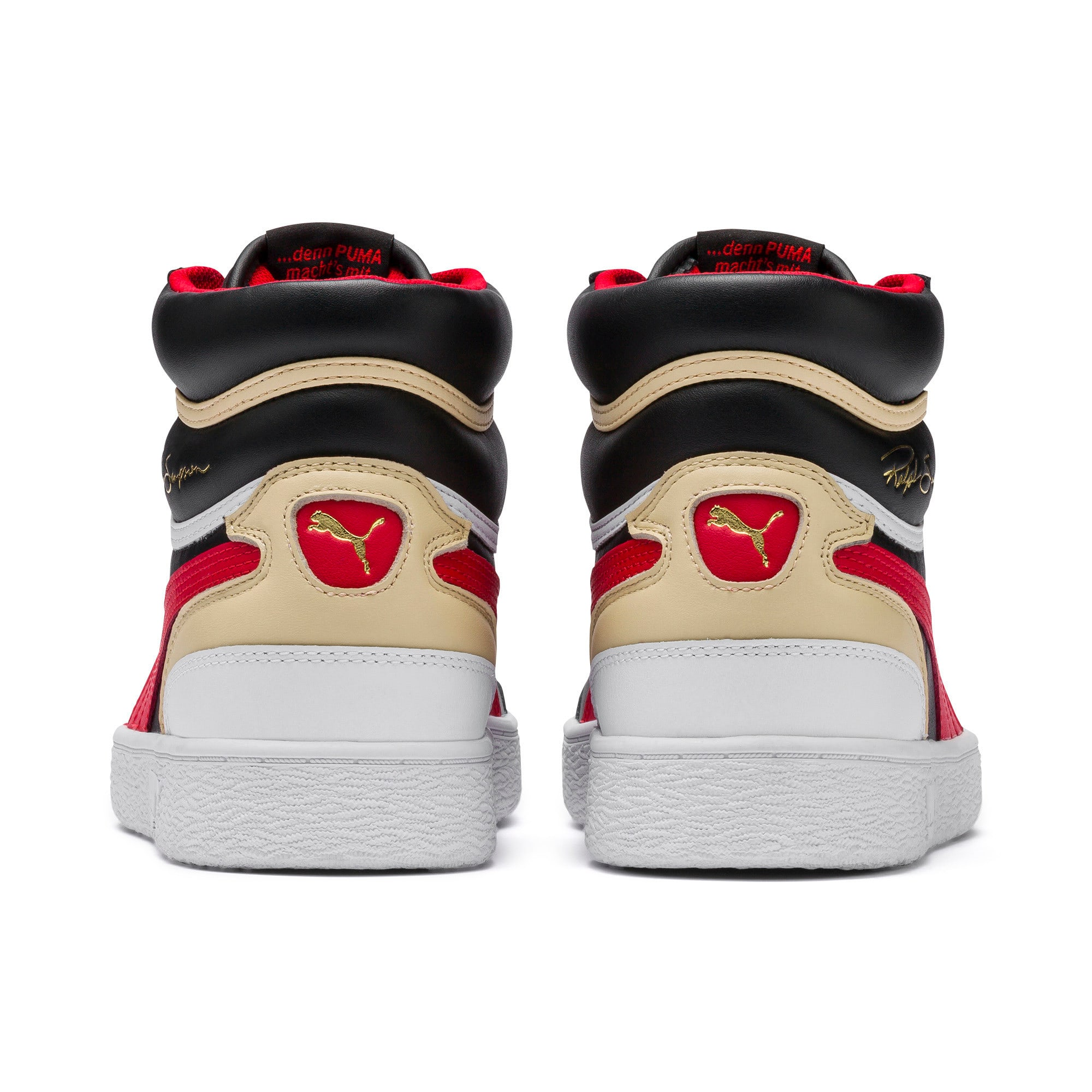 Thumbnail 3 of Ralph Sampson Mid Trainers, PBlack-High Risk Red-PWhite, medium