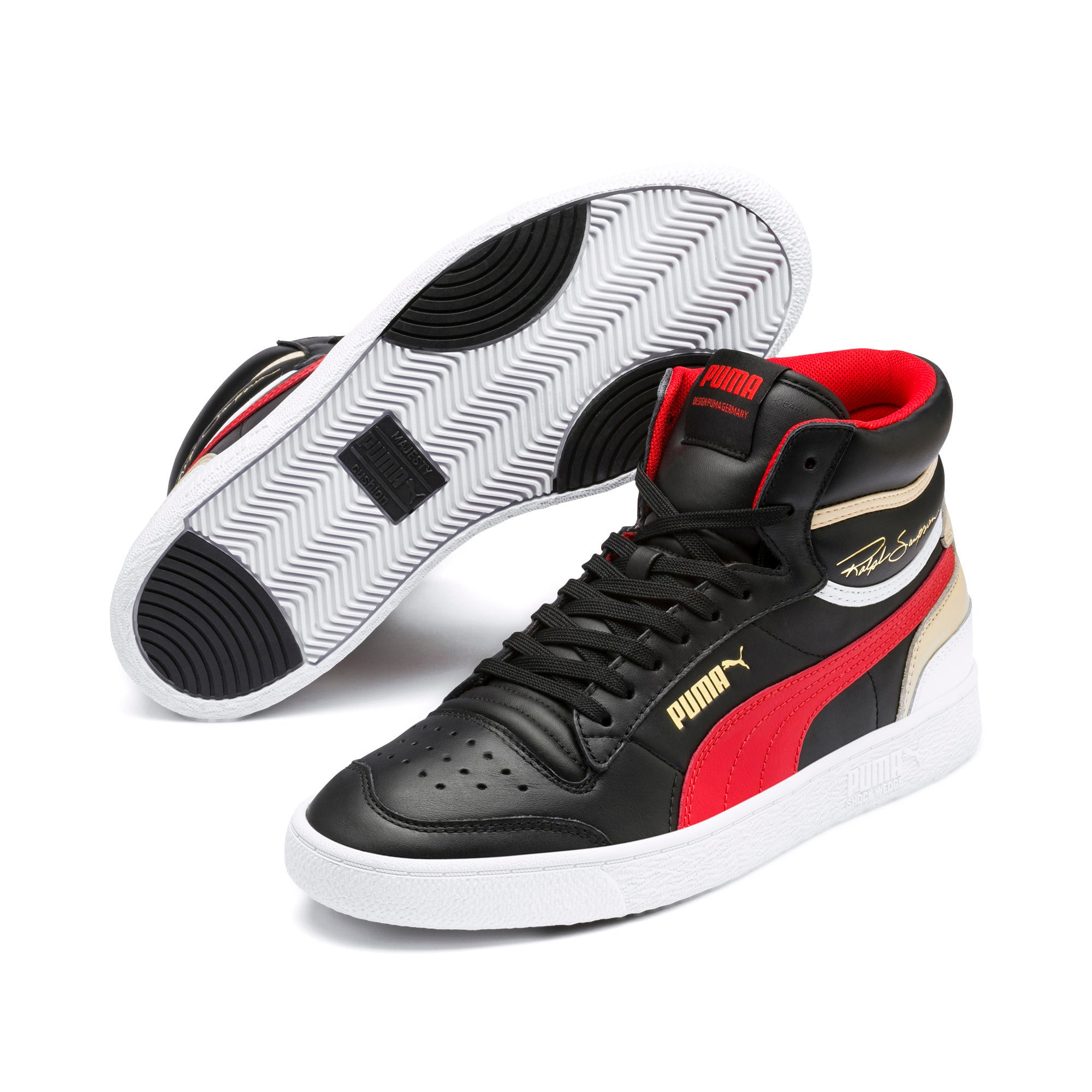 Thumbnail 2 of Ralph Sampson Mid Trainers, PBlack-High Risk Red-PWhite, medium