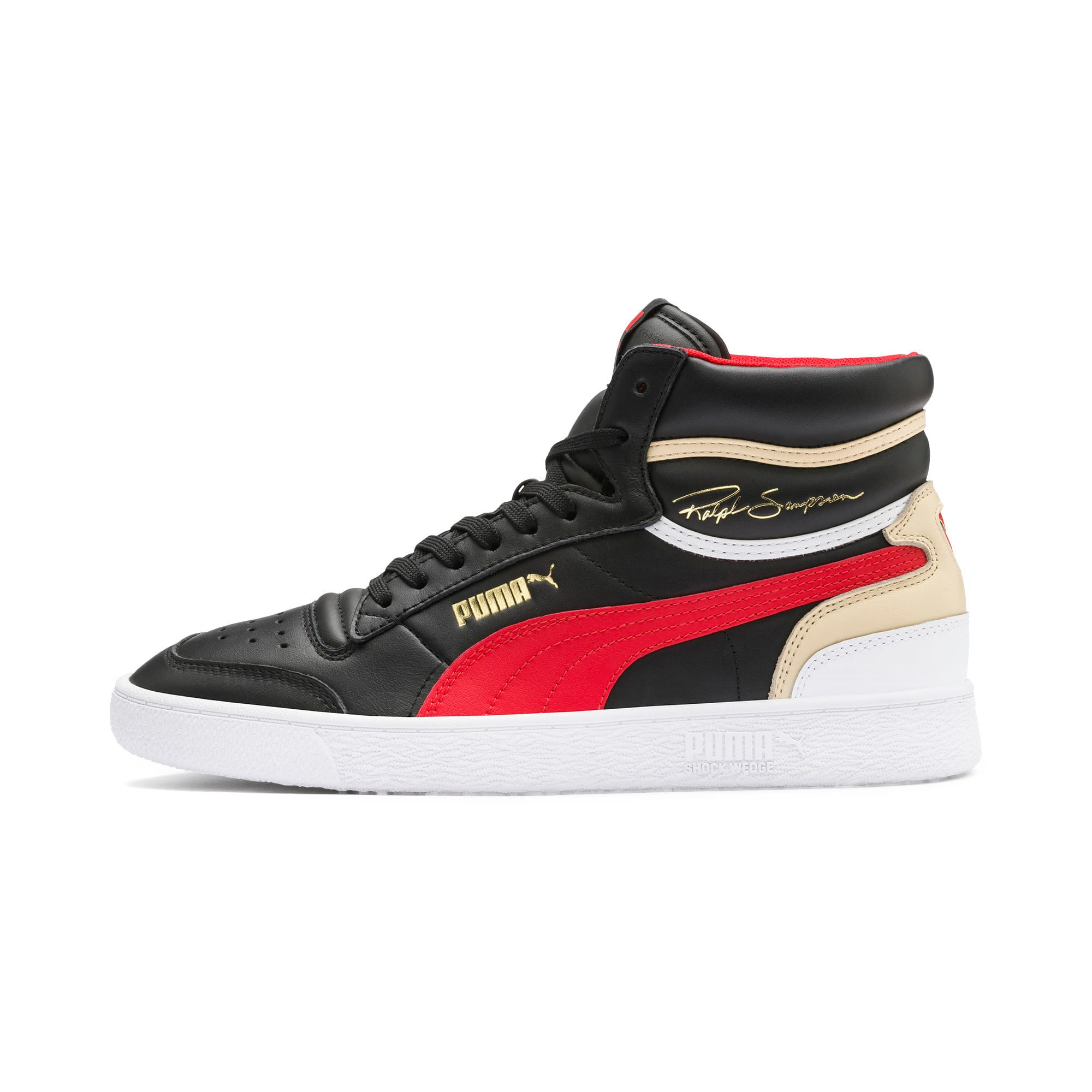 Thumbnail 1 of Ralph Sampson Mid Trainers, PBlack-High Risk Red-PWhite, medium