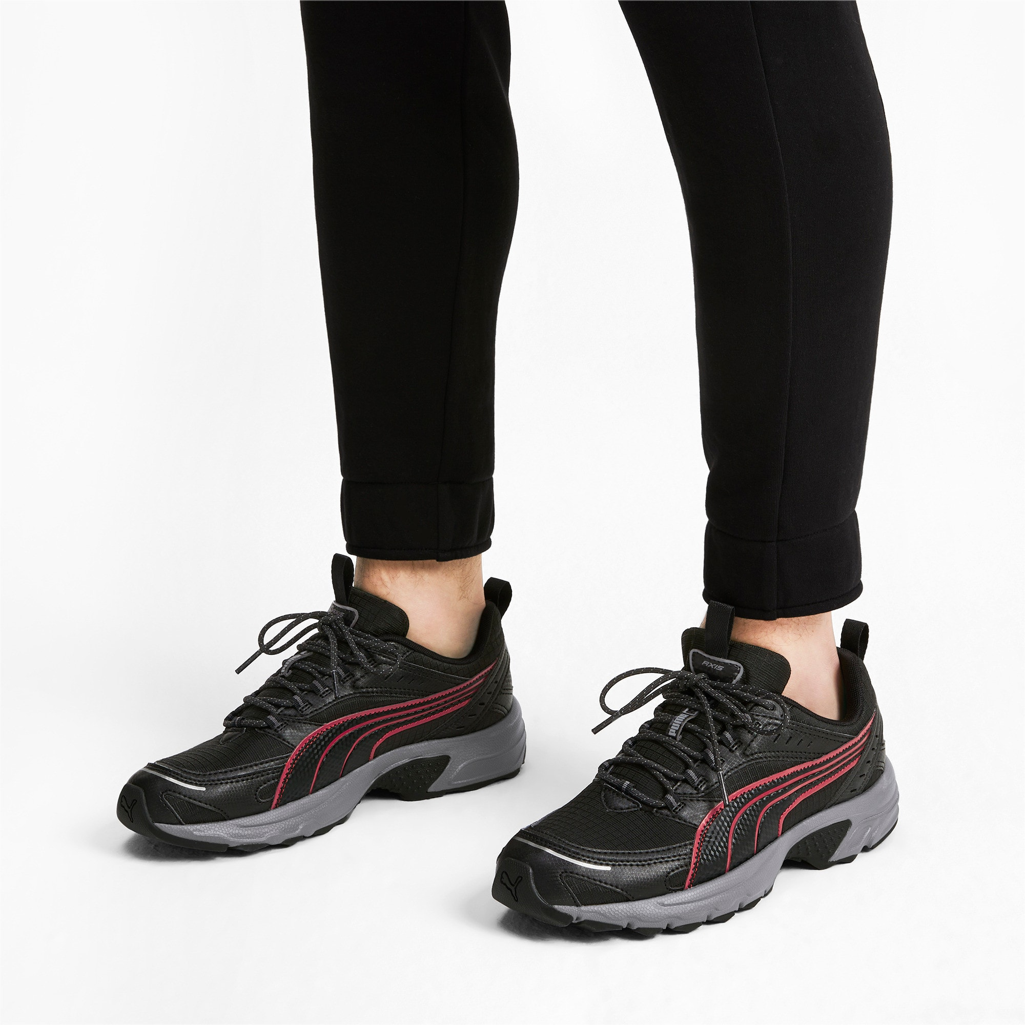 Thumbnail 2 of Axis Trail Sneakers, Black-High Risk Red-Silver, medium