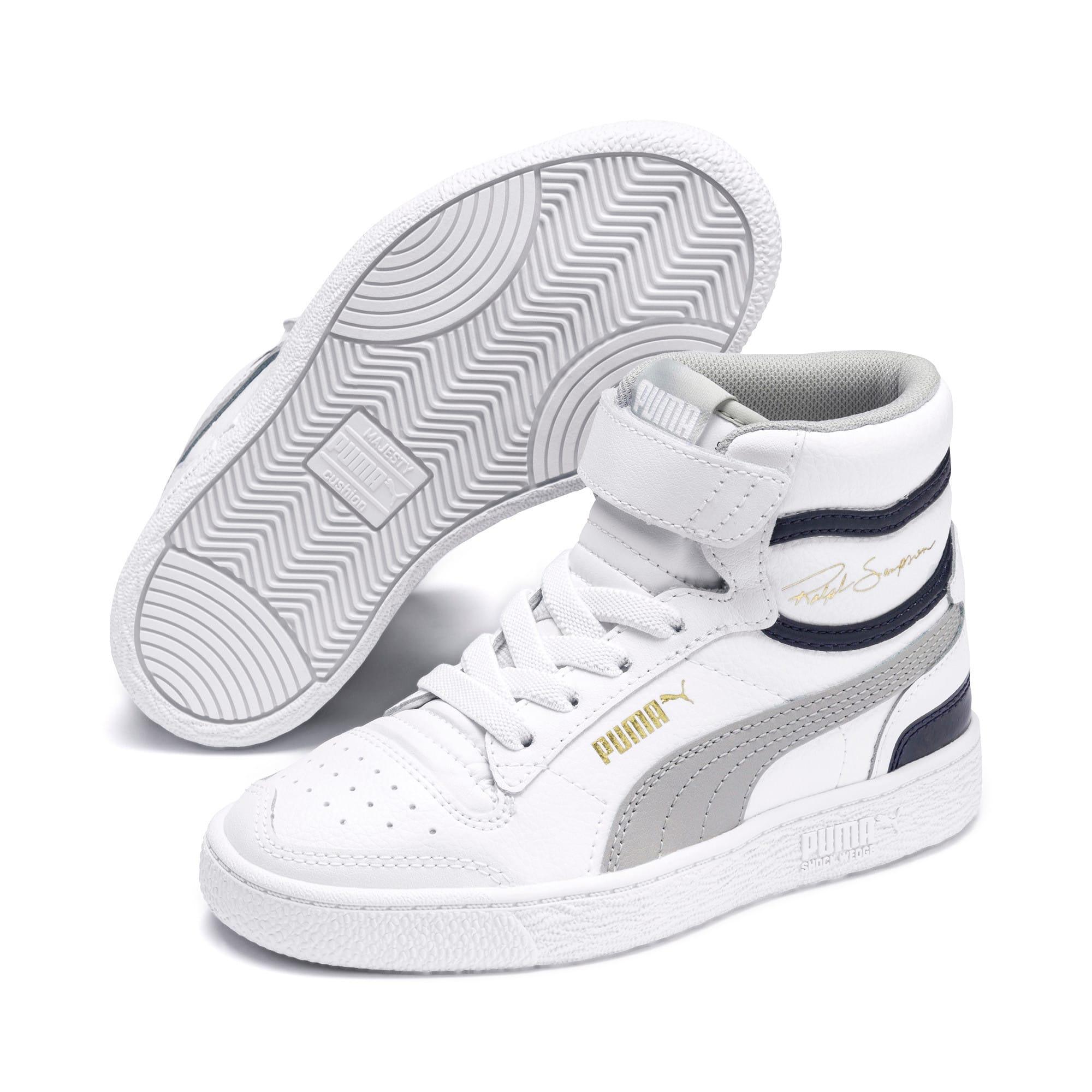 Thumbnail 2 of Ralph Sampson Mid Kids Sneaker, White-Gray Violet-Peacoat, medium