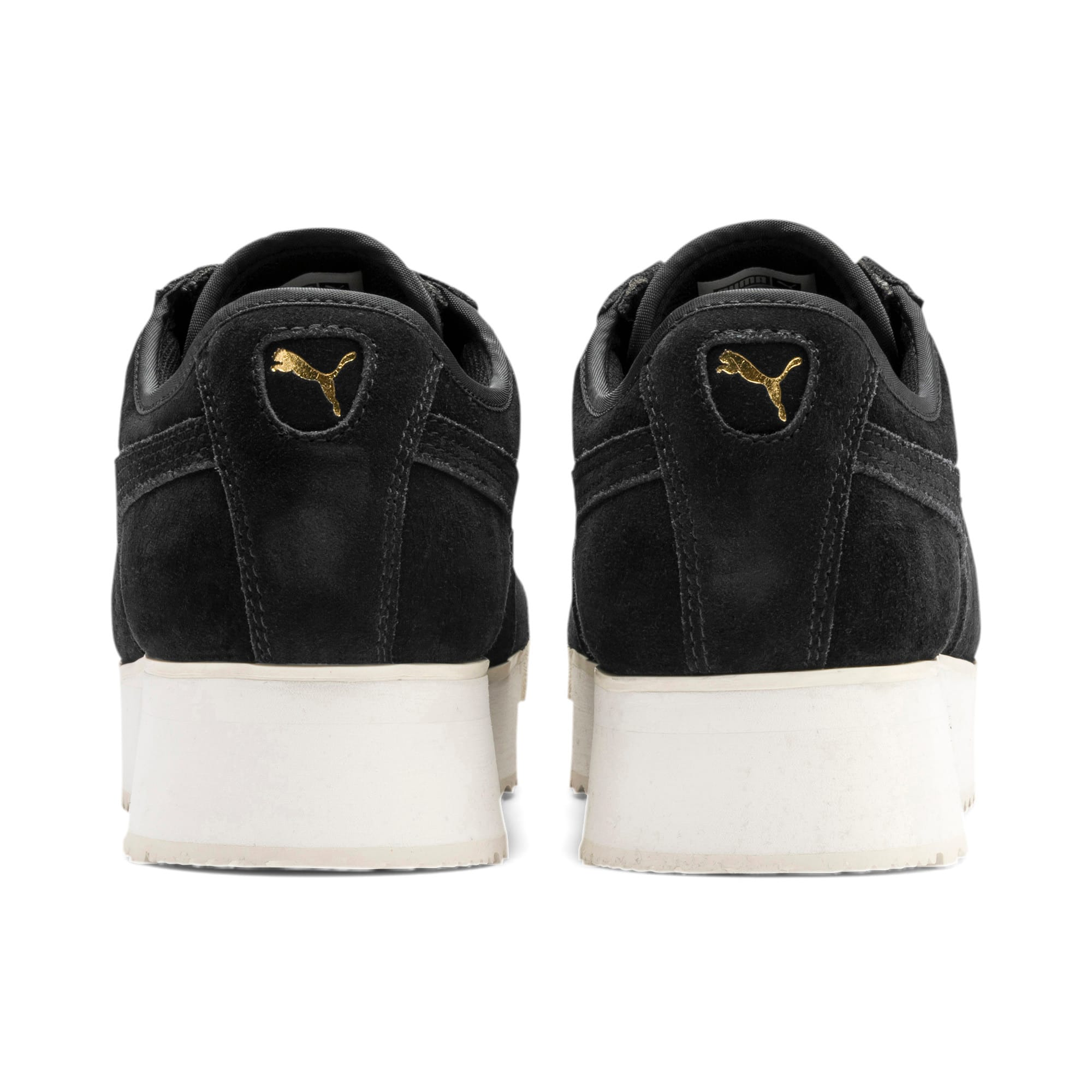 Thumbnail 4 of Roma Amor Suede Women's Trainers, Puma Black-Puma Team Gold, medium