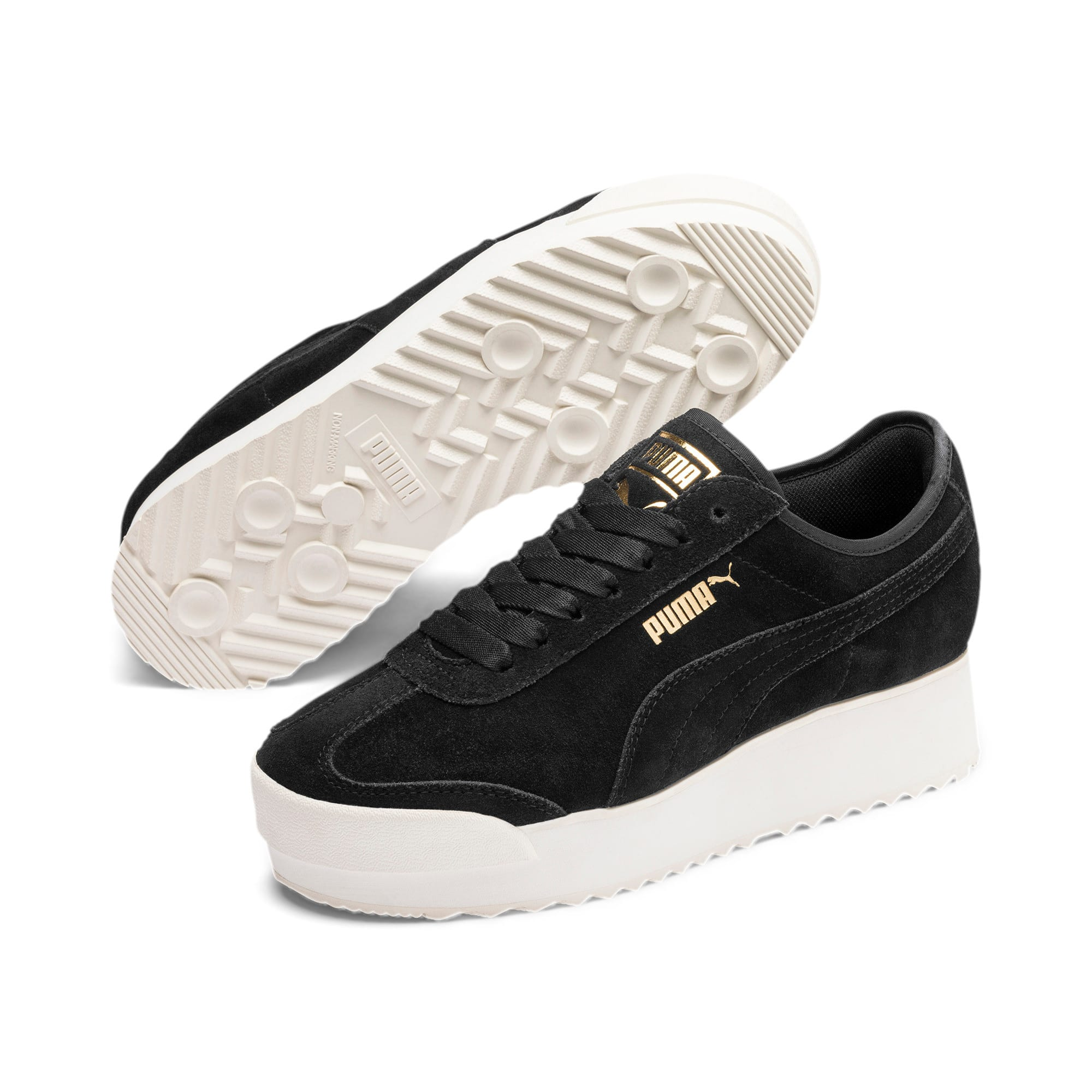 Thumbnail 3 of Roma Amor Suede Women's Trainers, Puma Black-Puma Team Gold, medium