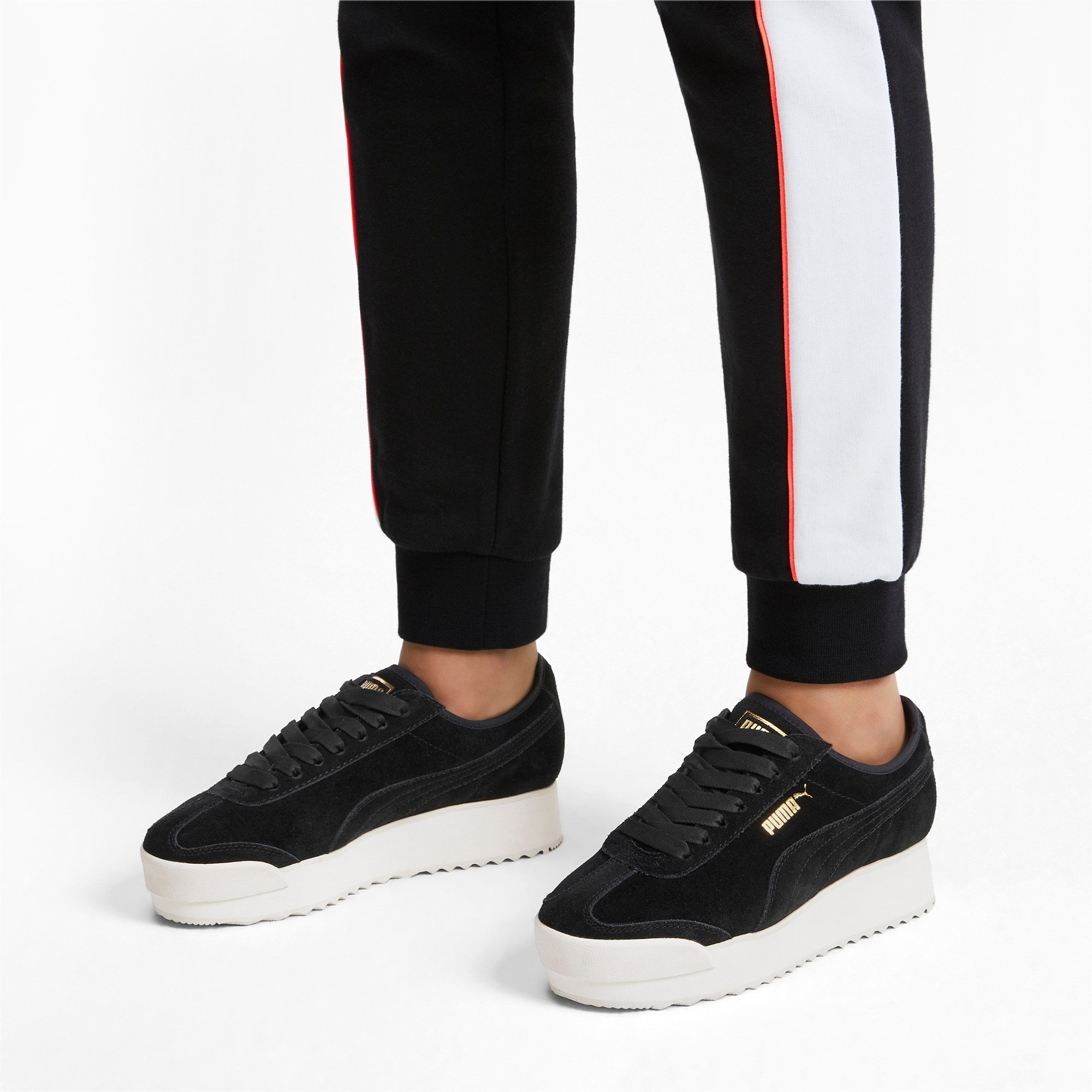 Thumbnail 2 of Roma Amor Suede Women's Trainers, Puma Black-Puma Team Gold, medium
