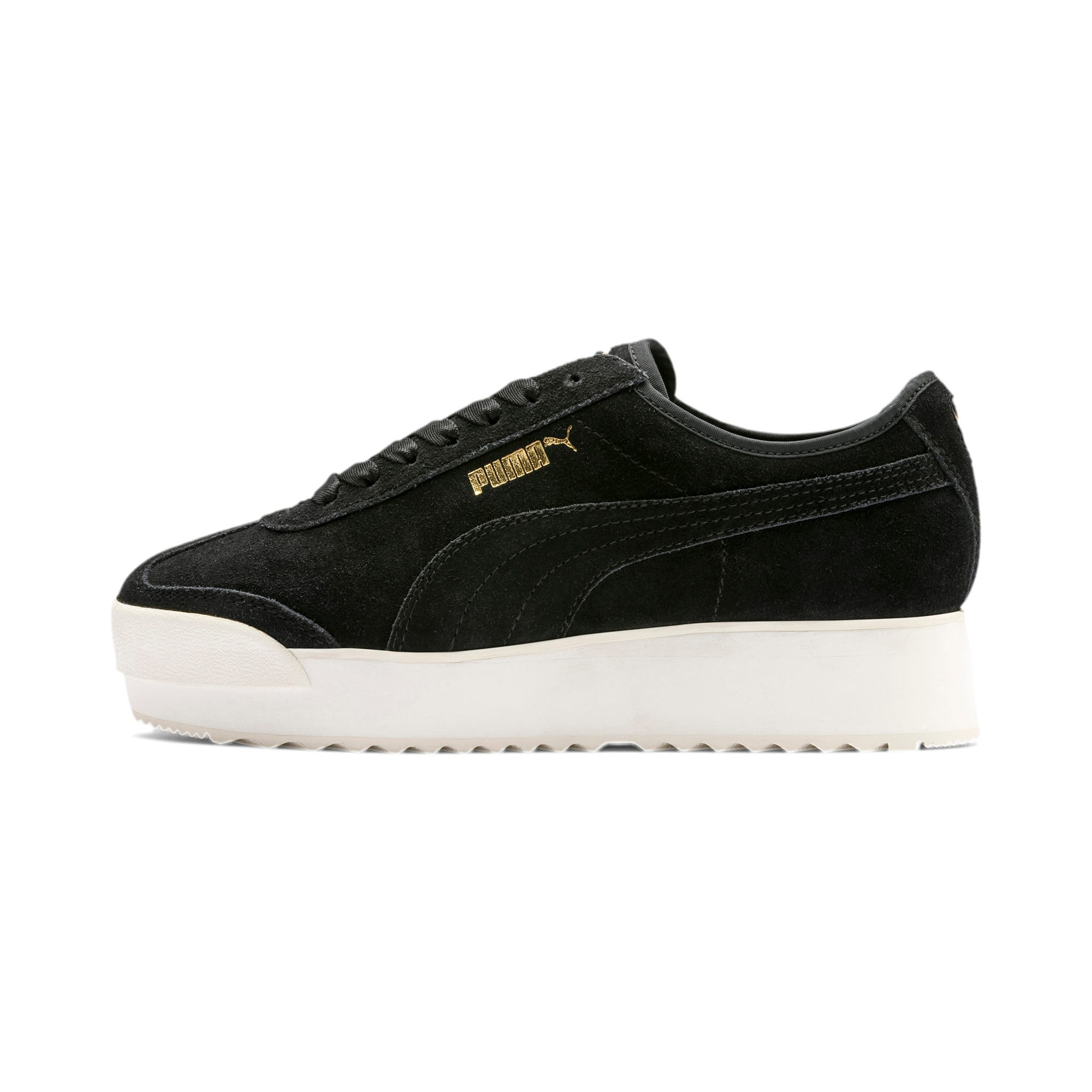 Thumbnail 1 of Roma Amor Suede Women's Trainers, Puma Black-Puma Team Gold, medium