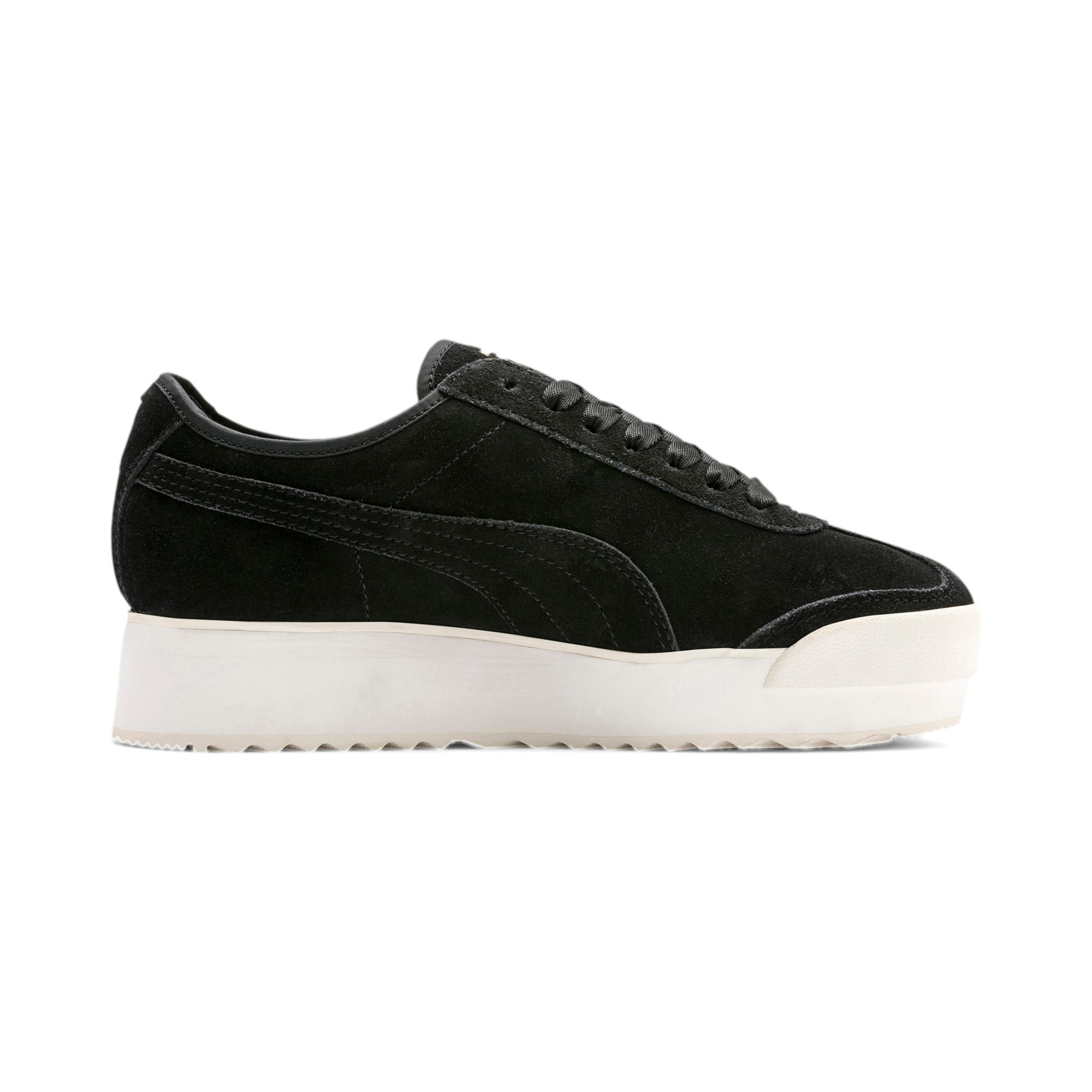 Thumbnail 6 of Roma Amor Suede Women's Trainers, Puma Black-Puma Team Gold, medium