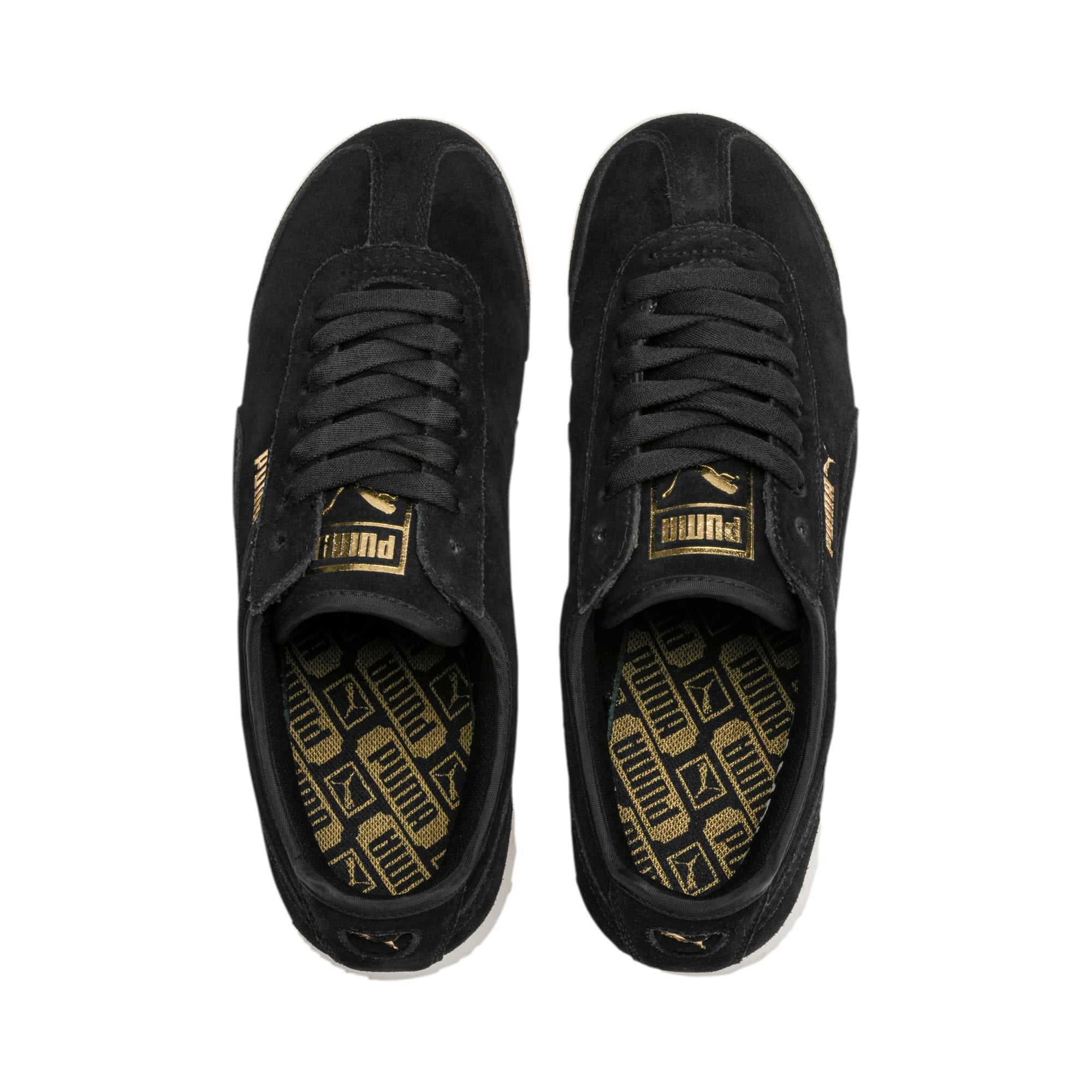 Thumbnail 7 of Roma Amor Suede Women's Sneakers, Puma Black-Puma Team Gold, medium