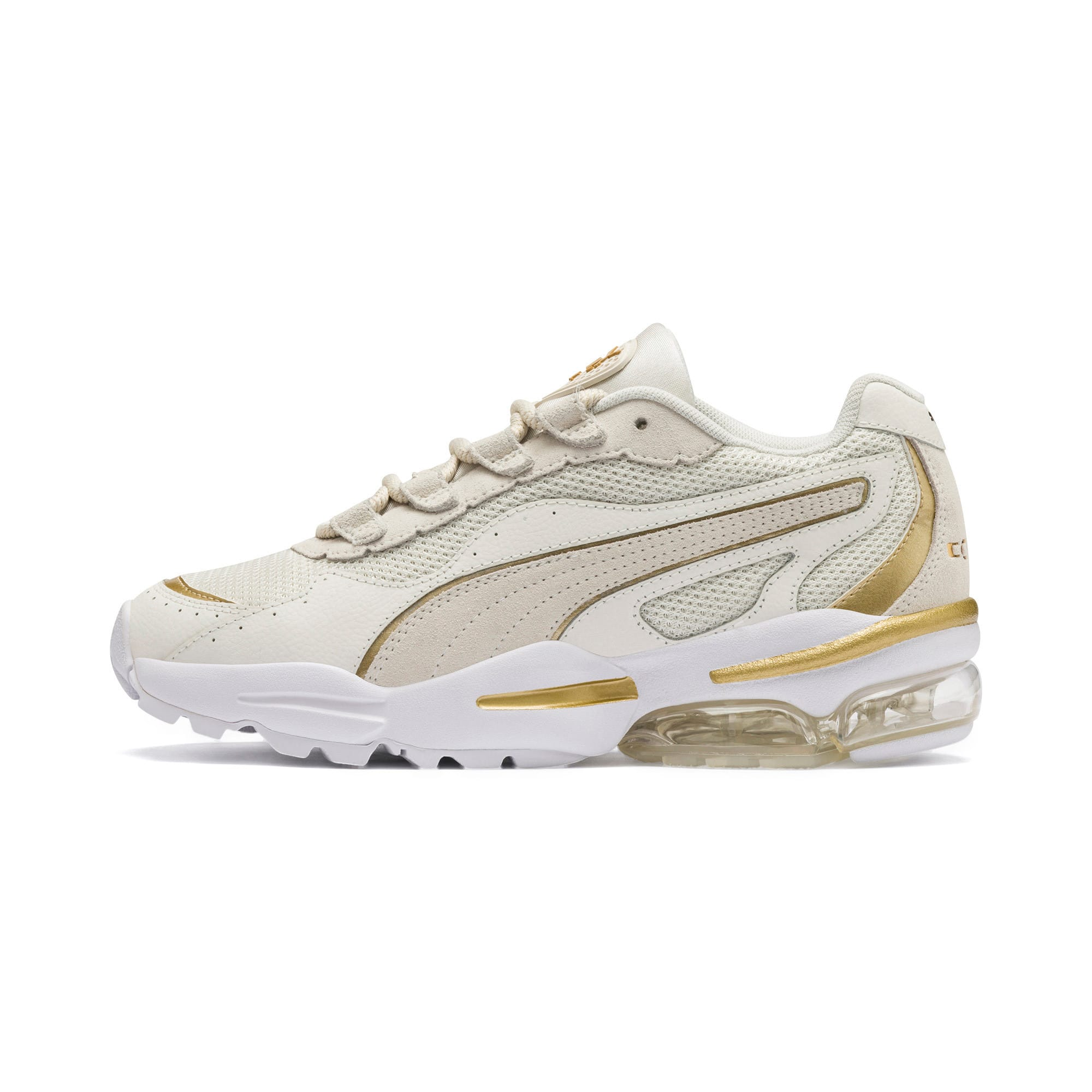 Thumbnail 1 of CELL Stellar Soft sportschoenen voor dames, Puma White-Puma Team Gold, medium