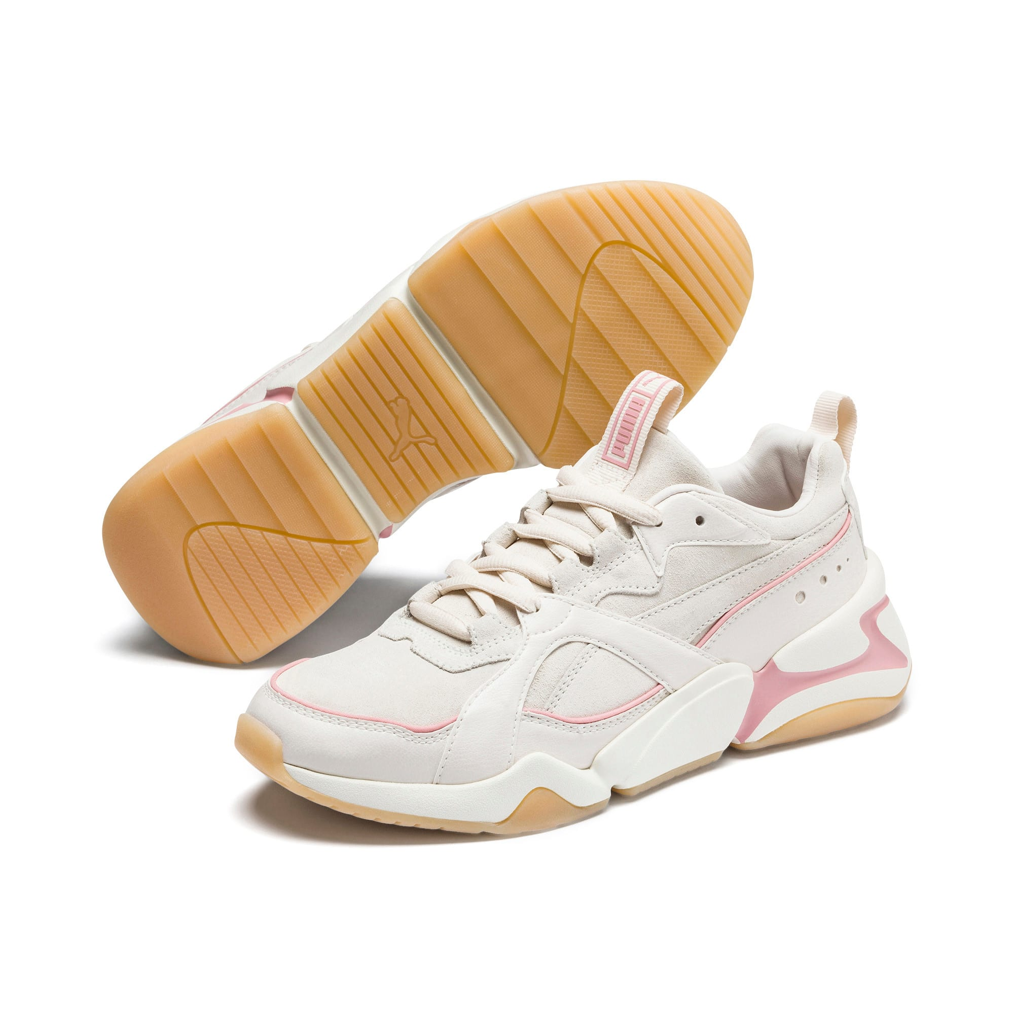 Thumbnail 3 of Nova 2 Suede Women's Trainers, Pastel Parchment-Whisp White, medium