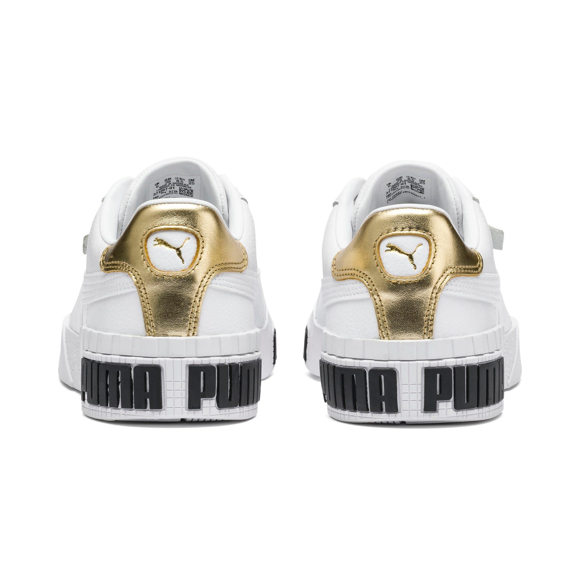 Thumbnail 3 of Cali Bold Metallic sportschoenen voor dames, Puma White-Gold, medium