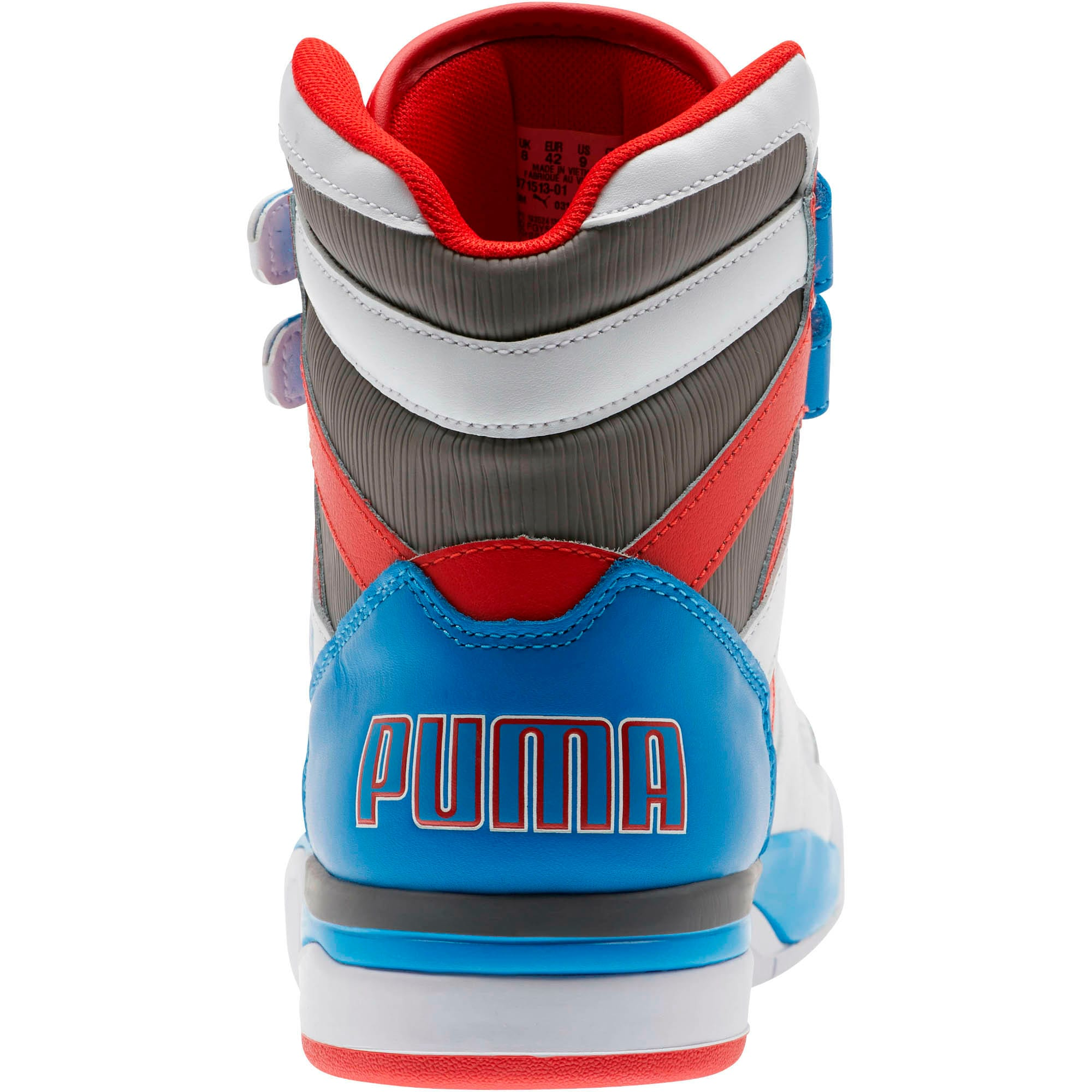 Thumbnail 3 of Palace Guard Mid Retro Sneakers, White-Indigo Bunting-Red, medium