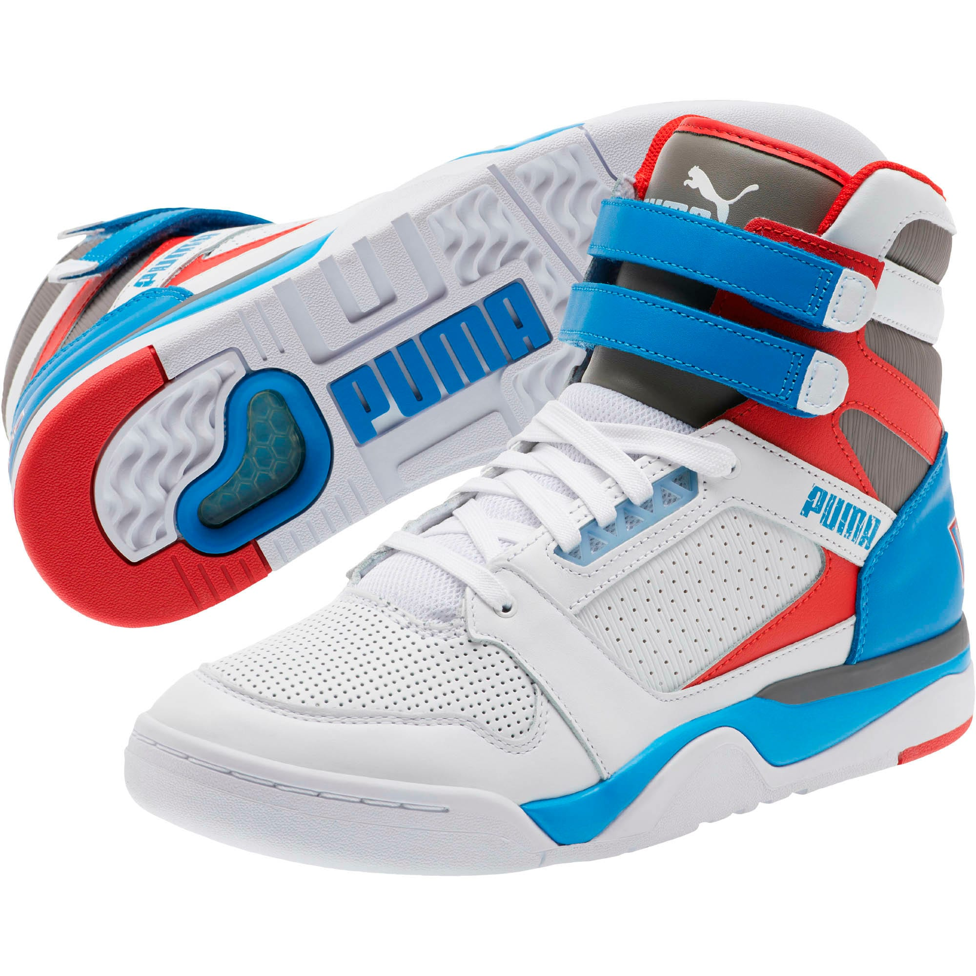 Thumbnail 2 of Palace Guard Mid Retro Sneakers, White-Indigo Bunting-Red, medium