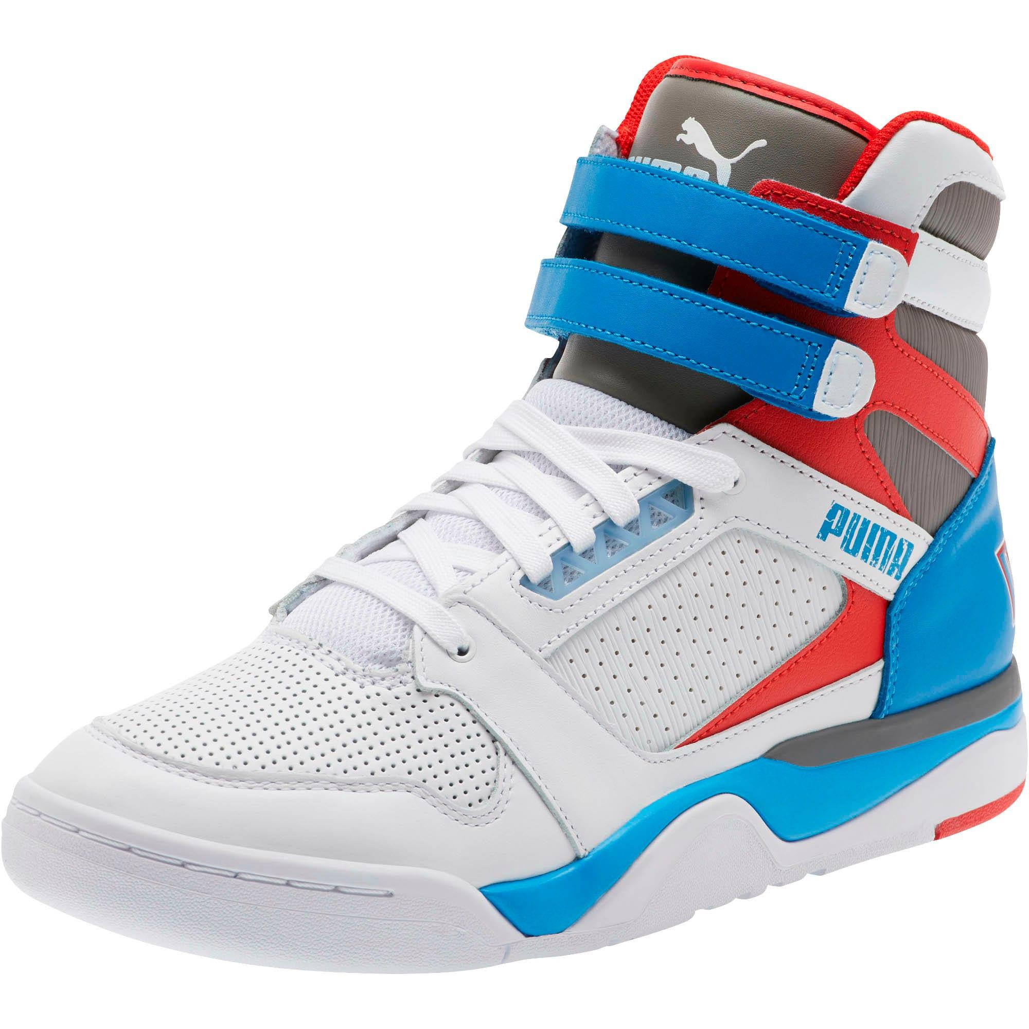 Thumbnail 1 of Palace Guard Mid Retro Sneakers, White-Indigo Bunting-Red, medium