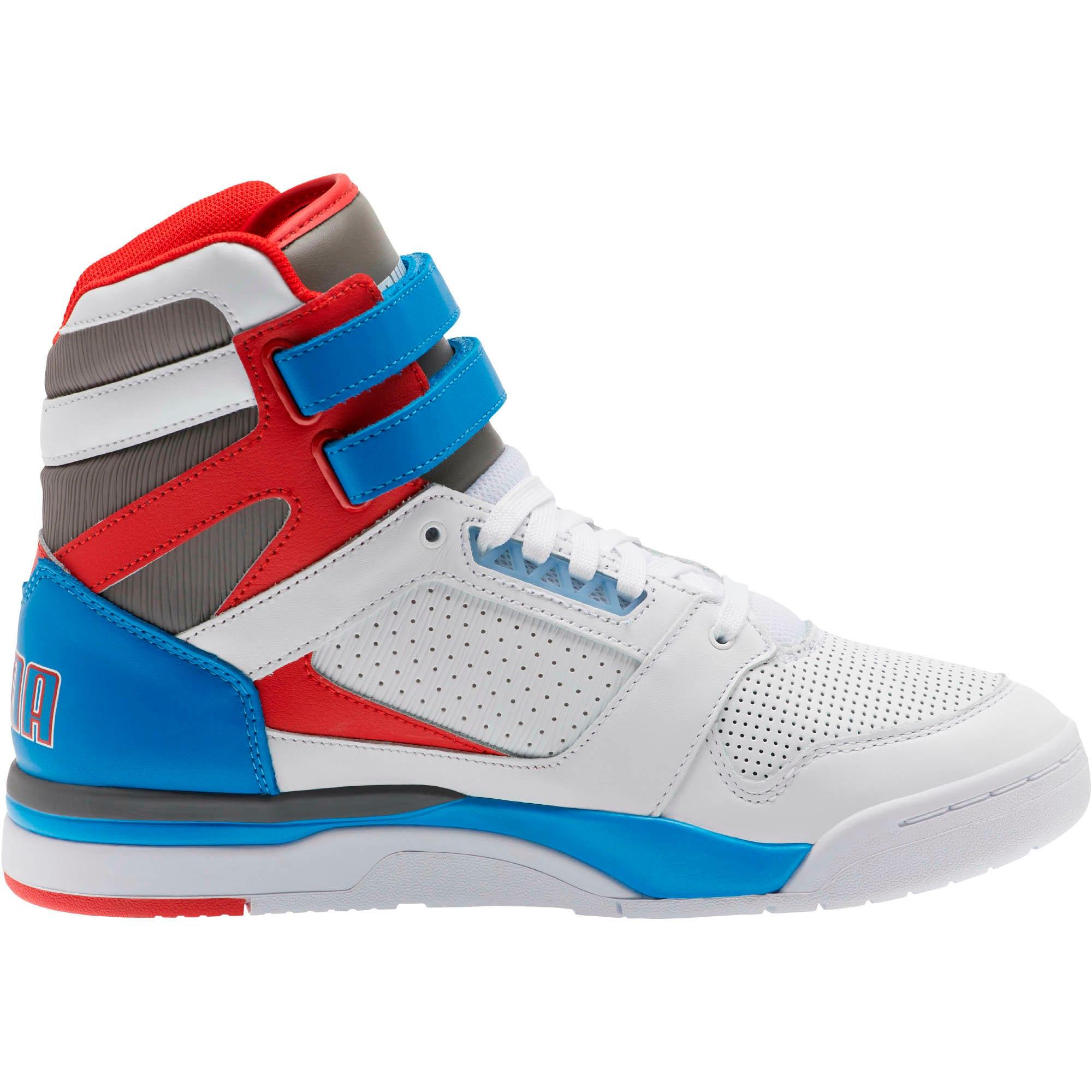 Thumbnail 4 of Palace Guard Mid Retro Sneakers, White-Indigo Bunting-Red, medium