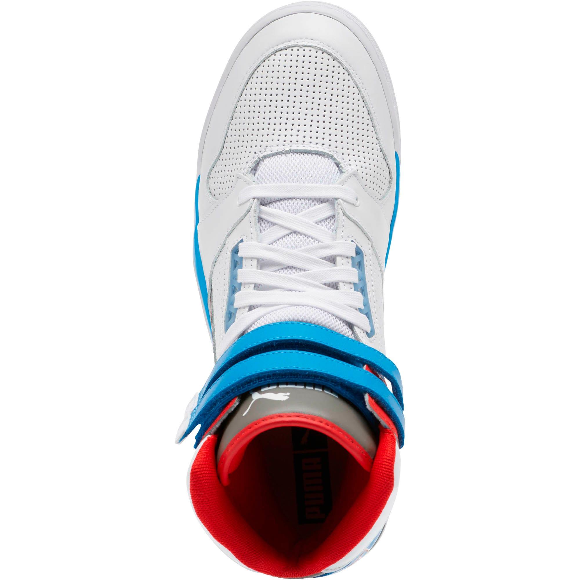 Thumbnail 5 of Palace Guard Mid Retro Sneakers, White-Indigo Bunting-Red, medium