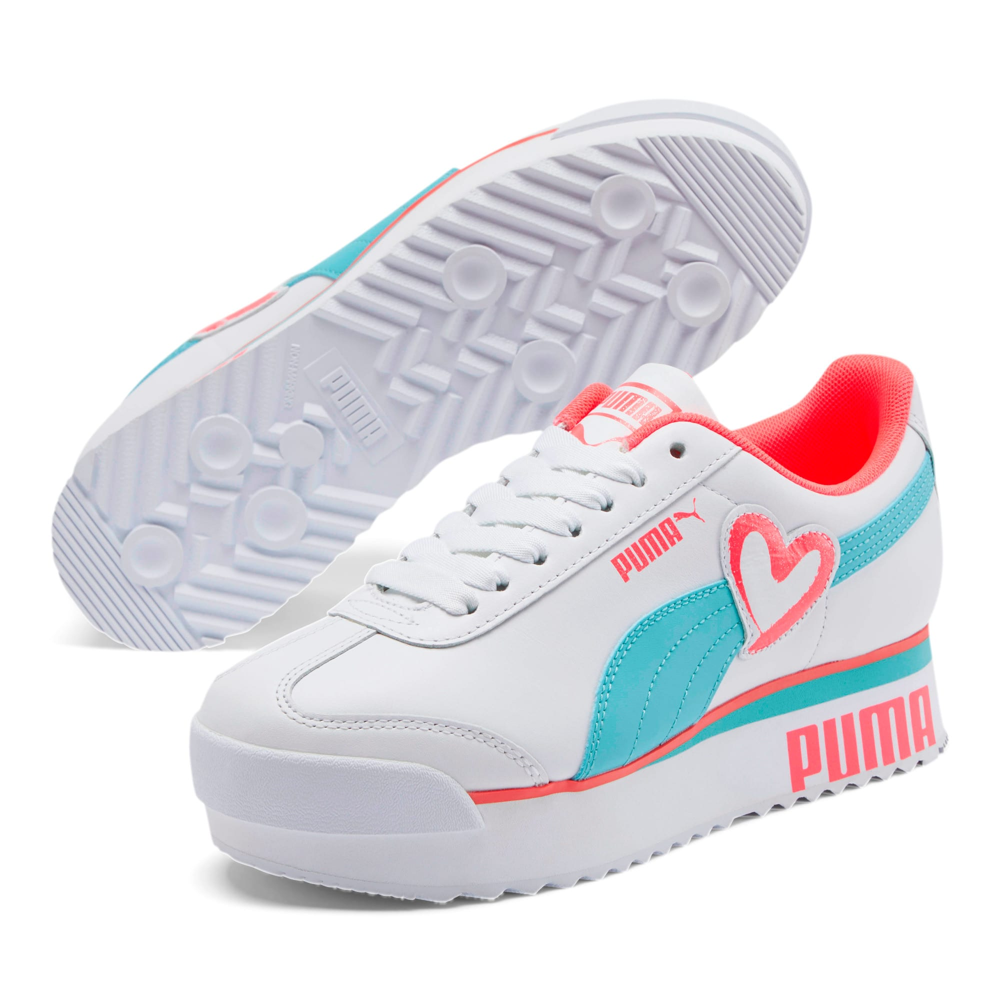 Thumbnail 2 of Roma Amor Heart Women's Sneakers, White-Milky Blue-Pink Alert, medium