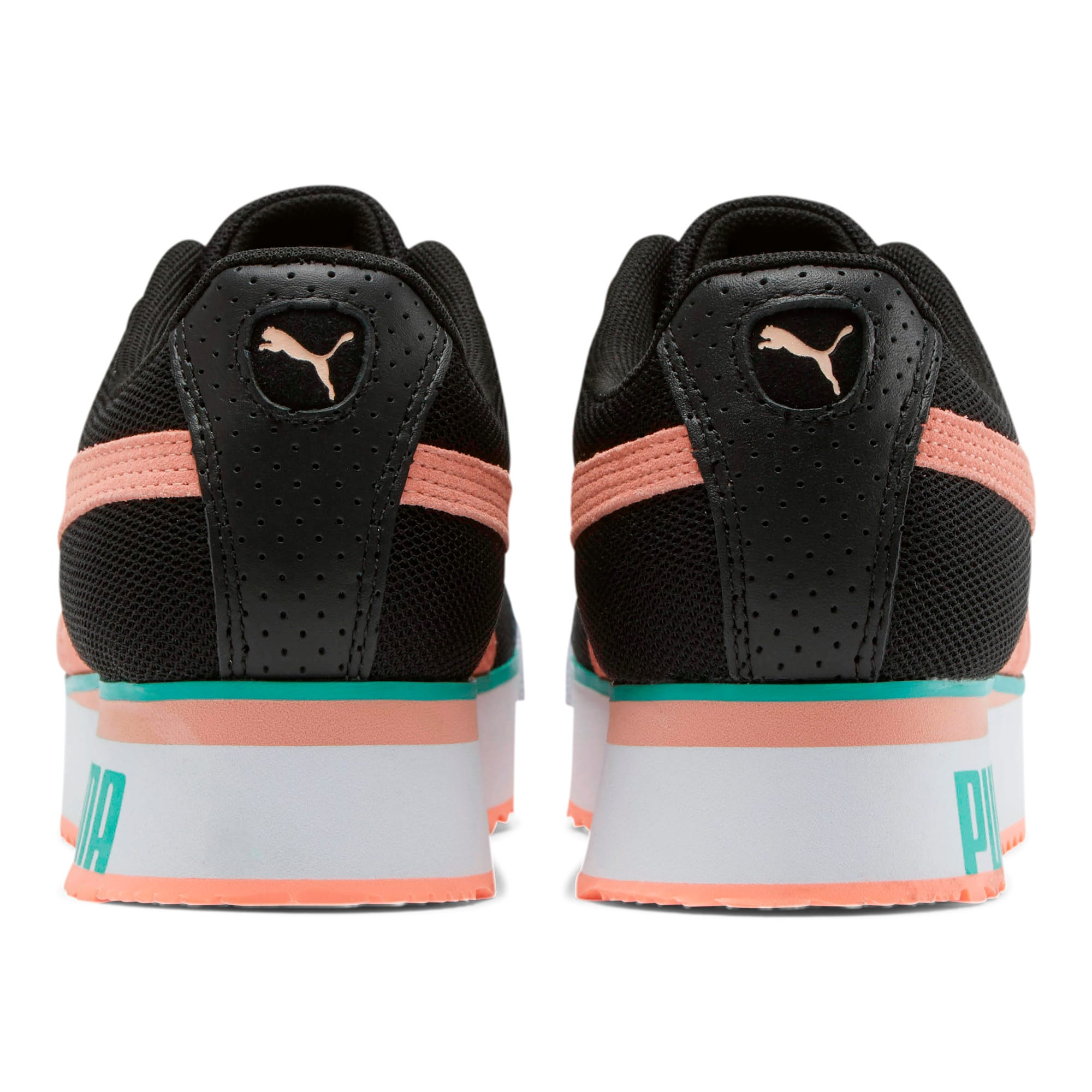 Roma Amor Mesh Mix Women's Sneakers, Black-Br Peach-Ble Turquoise, large