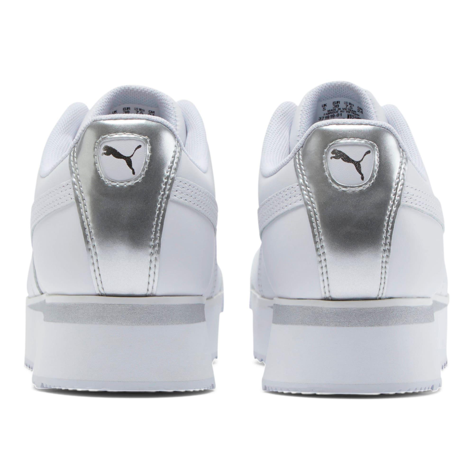 Thumbnail 3 of Roma Amor Leather Metallic Women's Sneakers, White-Whisper White-Silver, medium