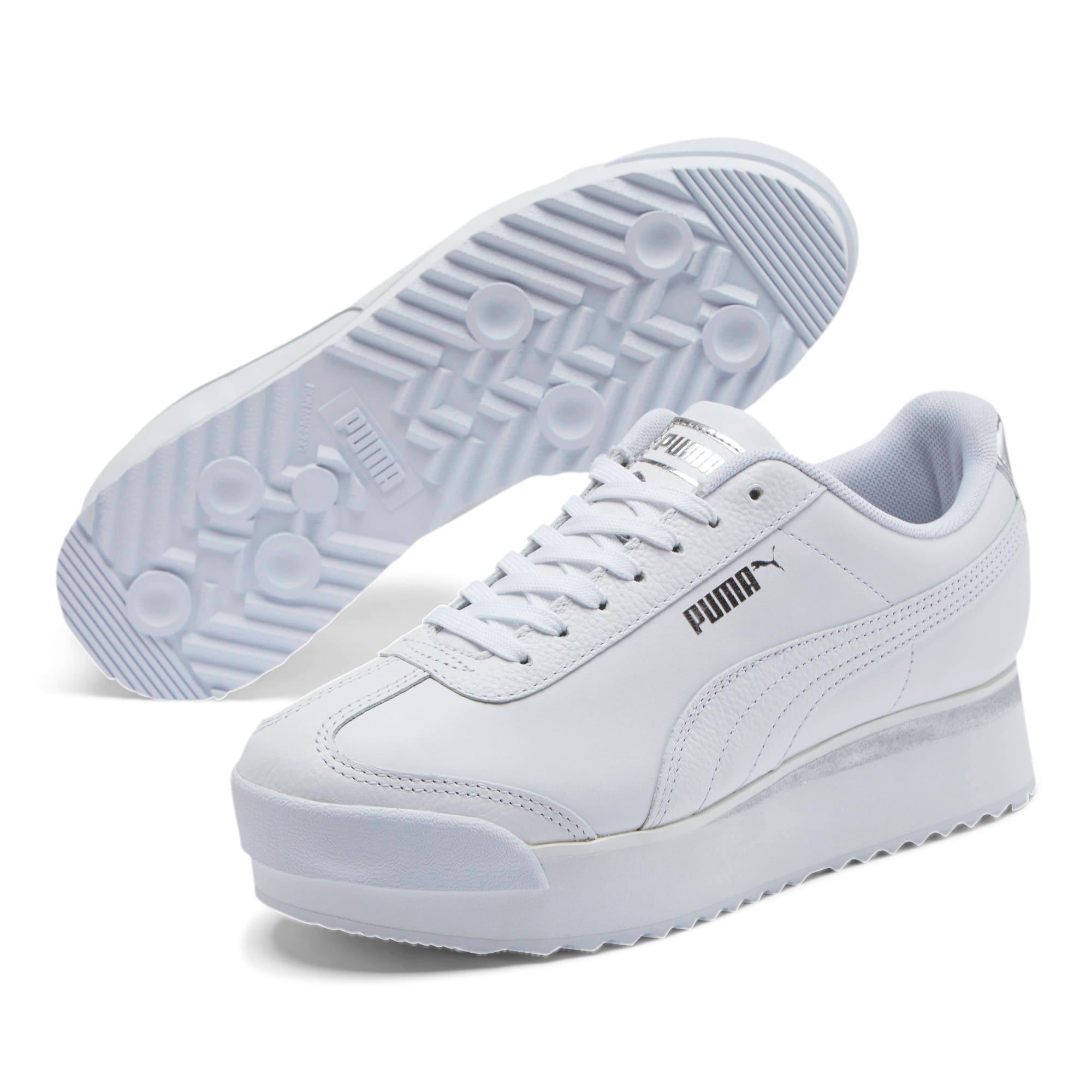 Thumbnail 2 of Roma Amor Leather Metallic Women's Sneakers, White-Whisper White-Silver, medium