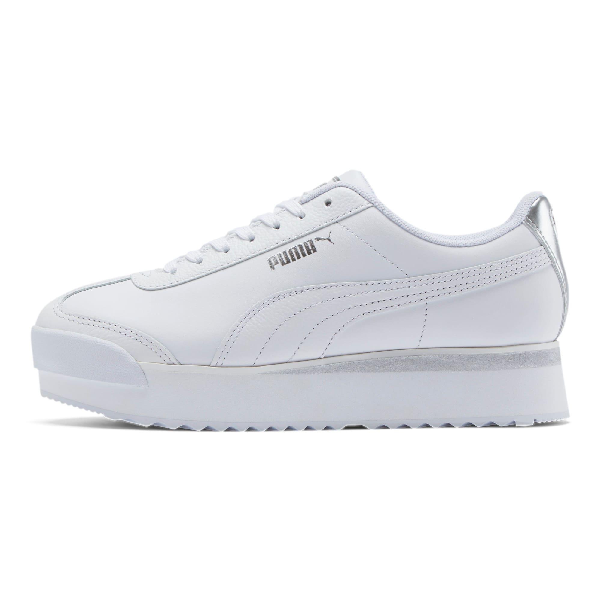 Thumbnail 1 of Roma Amor Leather Metallic Women's Sneakers, White-Whisper White-Silver, medium