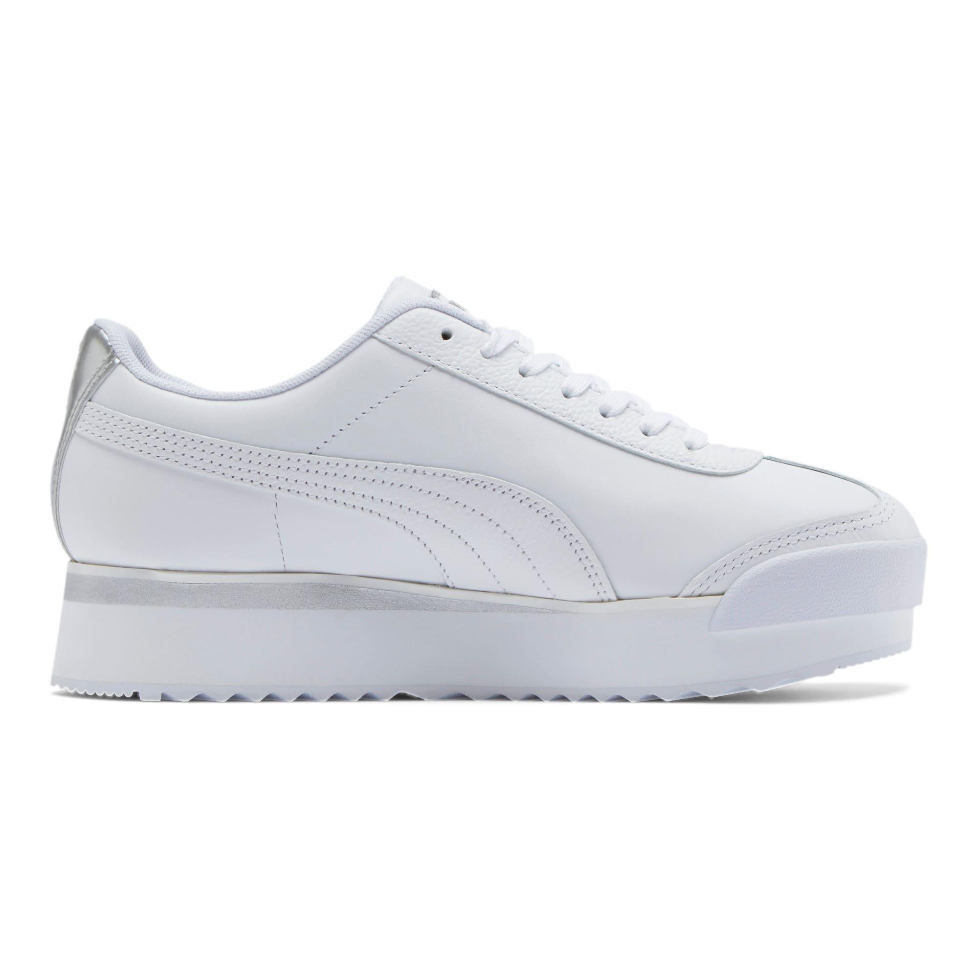 Thumbnail 5 of Roma Amor Leather Metallic Women's Sneakers, White-Whisper White-Silver, medium