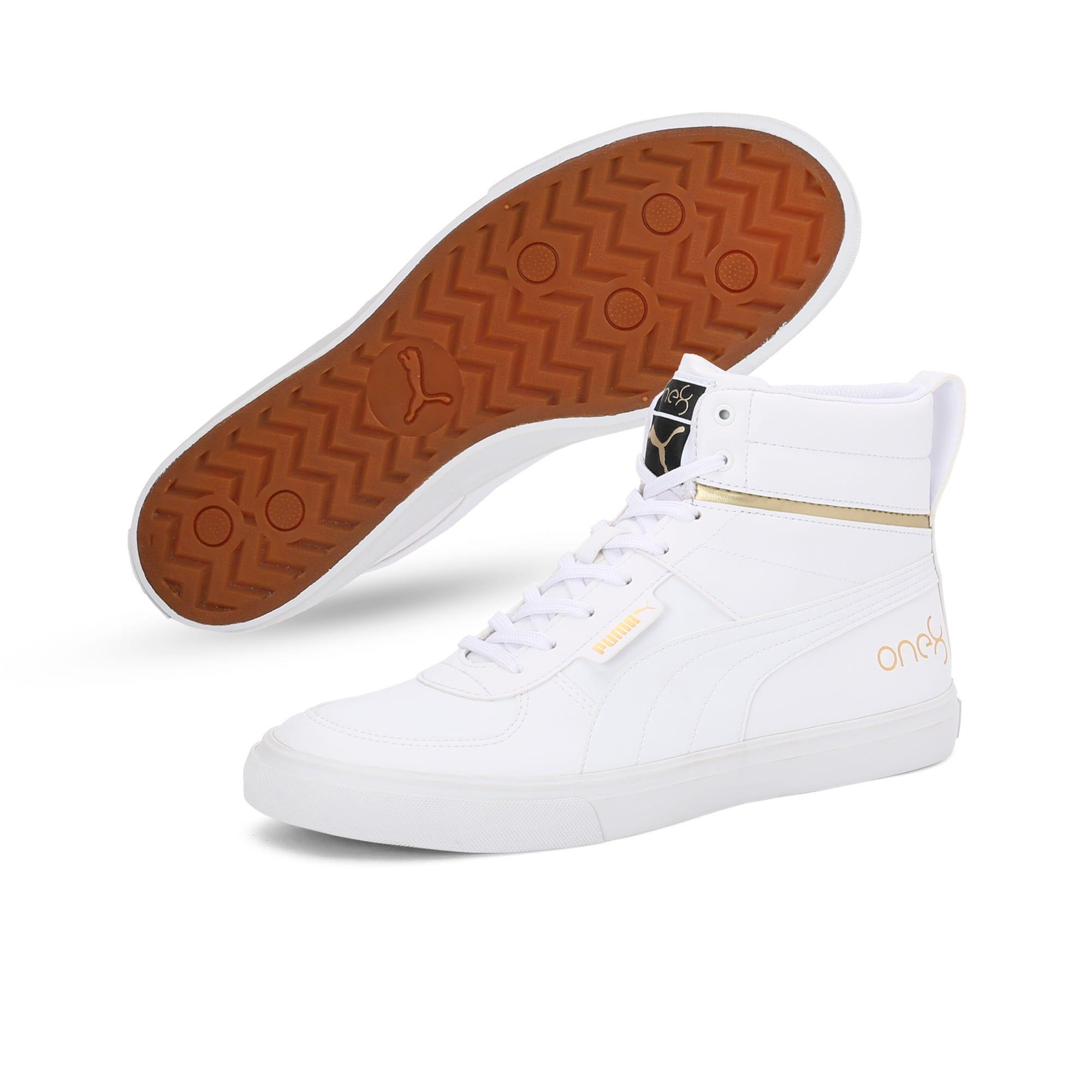 Thumbnail 2 of one8 Mid Men's Sneakers, Puma White-Puma Team Gold, medium-IND