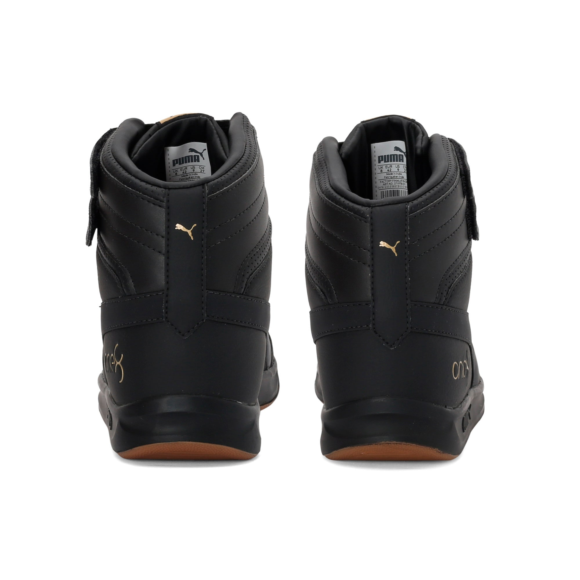 Thumbnail 3 of one8 Prime Mid Unisex Sneakers, Puma Black-Puma Team Gold, medium-IND