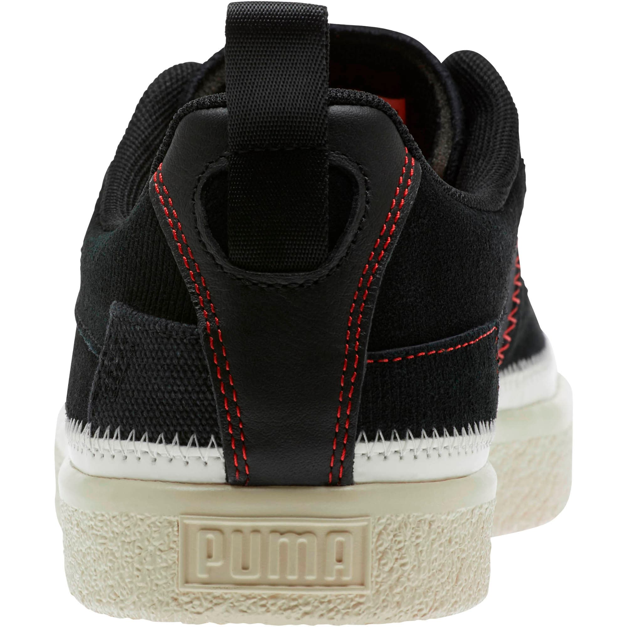 Thumbnail 3 of Clyde #REFORM Sneakers, Black-Whisper White- Red, medium