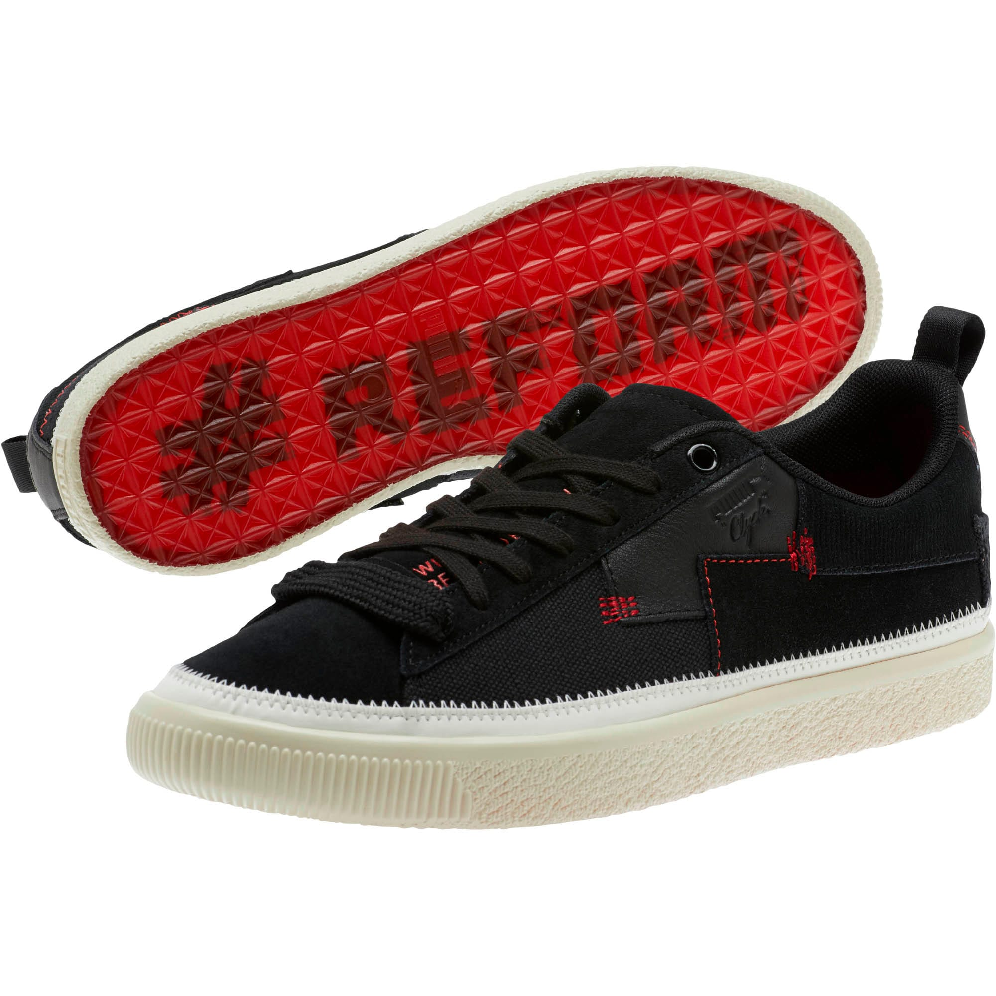 Thumbnail 2 of Clyde #REFORM Sneakers, Black-Whisper White- Red, medium